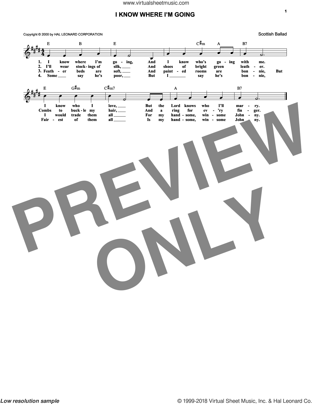 I Know Where I'm Goin' sheet music for voice and other instruments (fake book). Score Image Preview.
