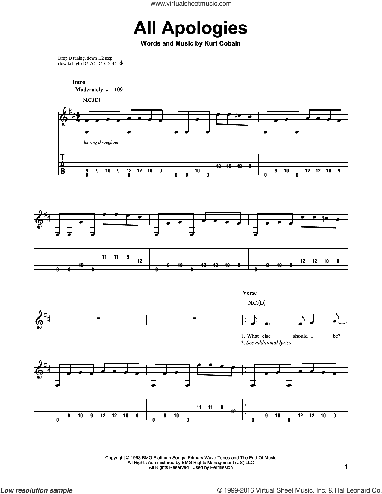 All Apologies sheet music for guitar solo (easy tablature) by Nirvana and Kurt Cobain, easy guitar (easy tablature). Score Image Preview.