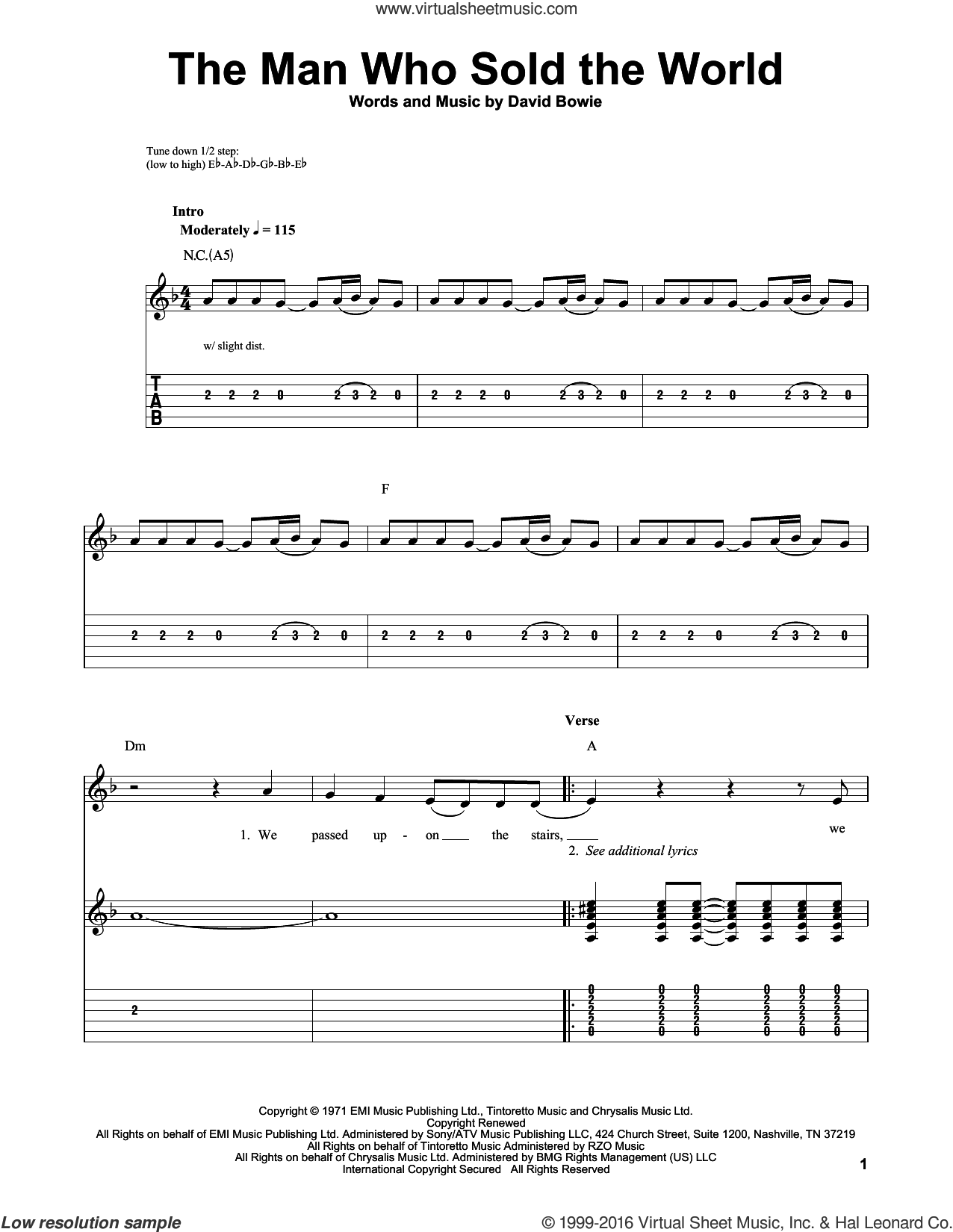 The Man Who Sold The World sheet music for guitar solo (easy tablature) by Nirvana and David Bowie, easy guitar (easy tablature). Score Image Preview.