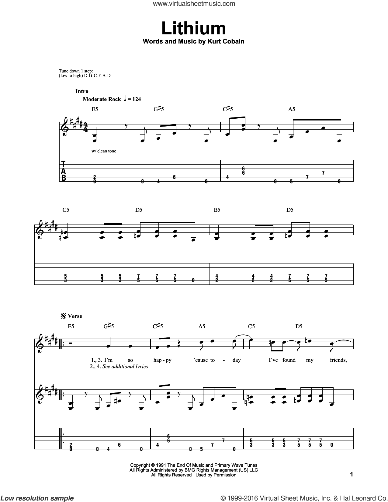 Lithium sheet music for guitar solo (easy tablature) by Kurt Cobain and Nirvana. Score Image Preview.