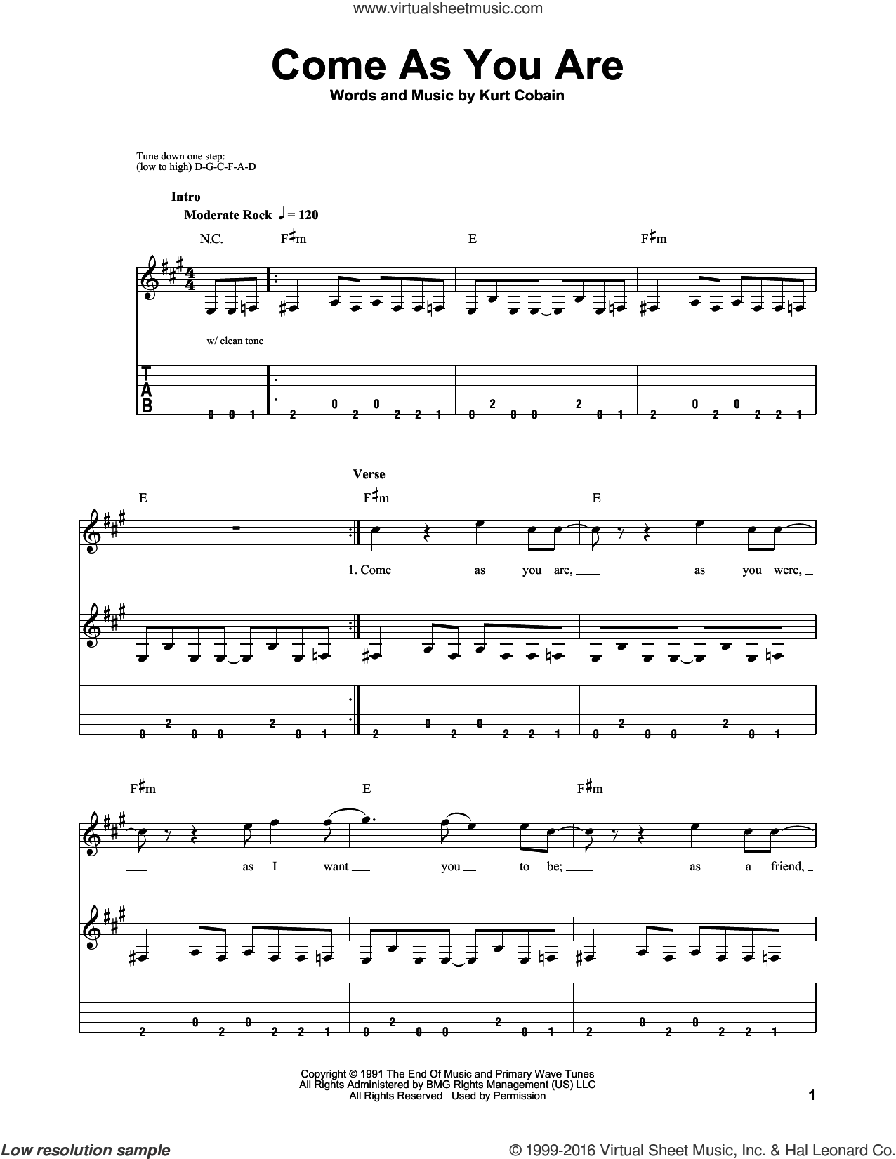 Come As You Are sheet music for guitar solo (easy tablature) by Nirvana and Kurt Cobain, easy guitar (easy tablature)
