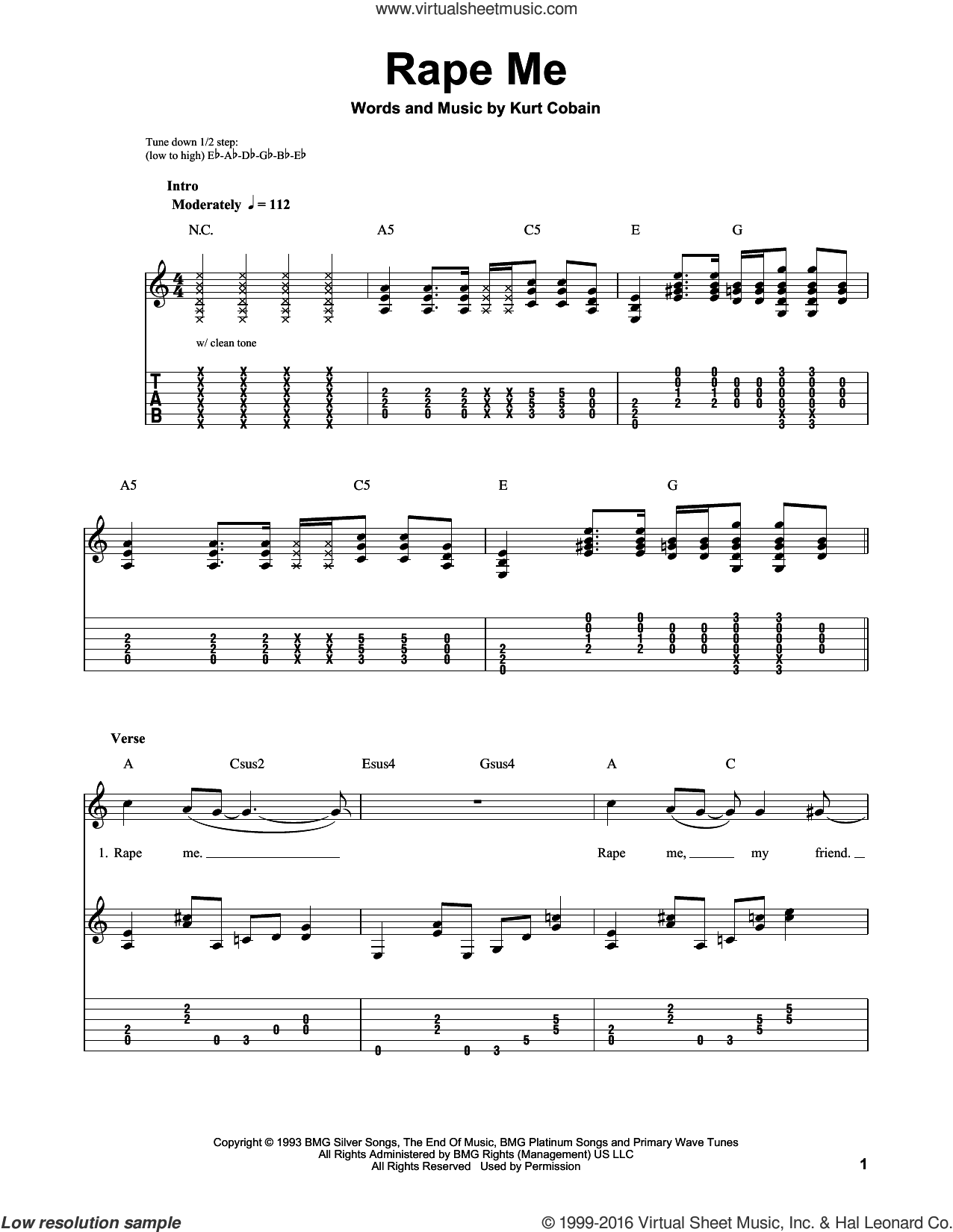 Rape Me sheet music for guitar solo (easy tablature) by Nirvana and Kurt Cobain, easy guitar (easy tablature)