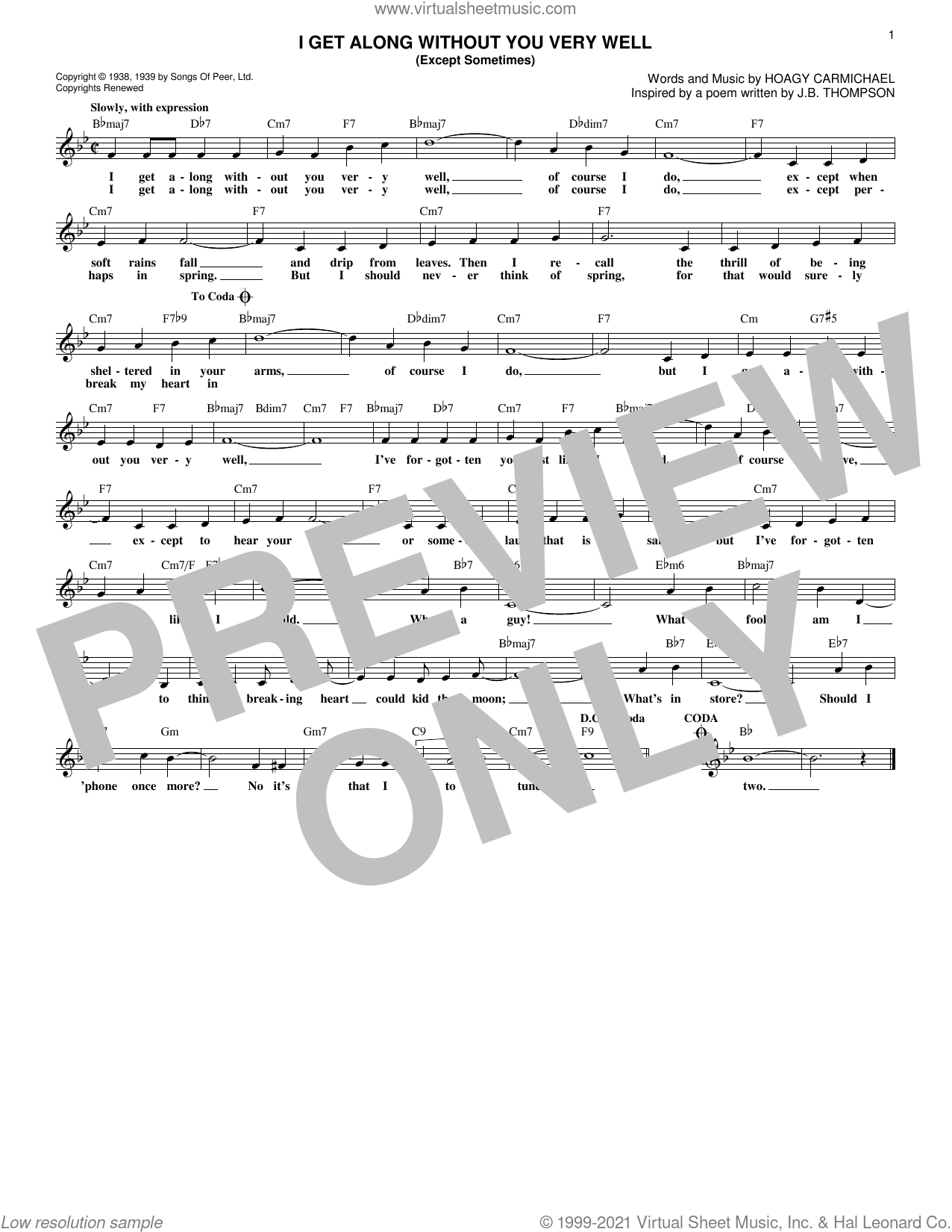 I Get Along Without You Very Well (Except Sometimes) sheet music for voice and other instruments (fake book) by Hoagy Carmichael, intermediate skill level