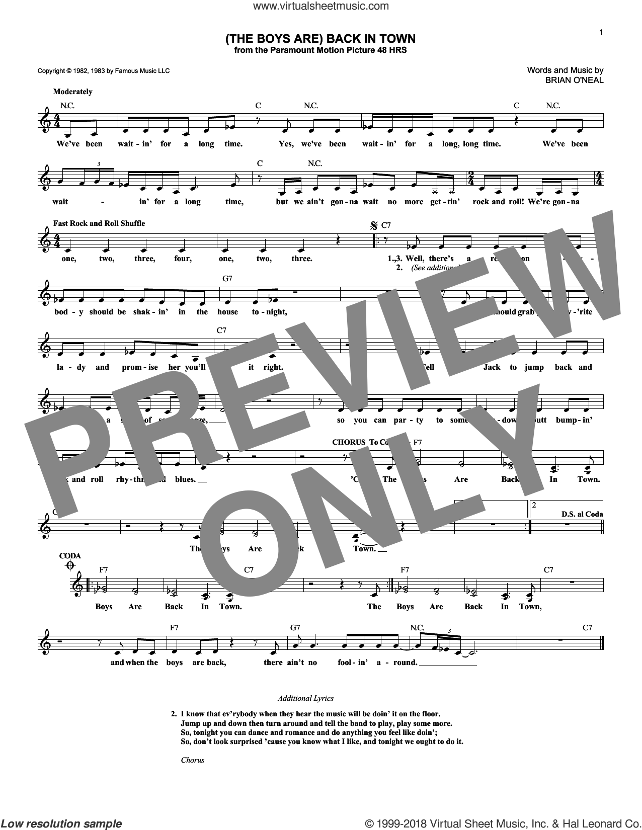 (The Boys Are) Back In Town sheet music for voice and other instruments (fake book) by Brian O'Neal and The Busboys, intermediate skill level