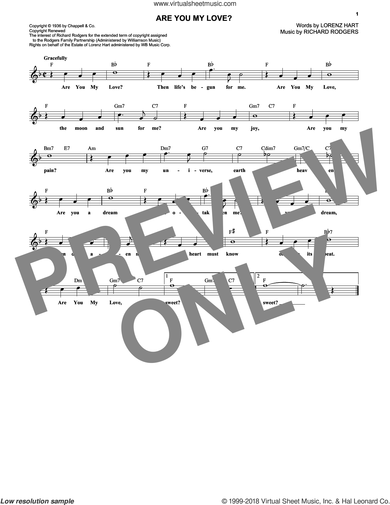 Are You My Love? sheet music for voice and other instruments (fake book) by Rodgers & Hart, Lorenz Hart and Richard Rodgers, intermediate skill level