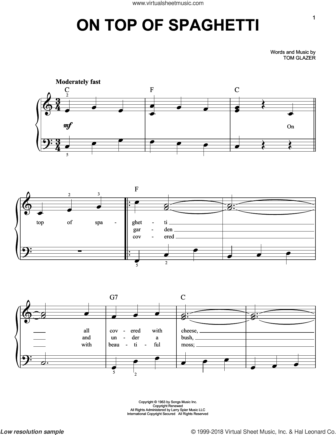 On Top Of Spaghetti sheet music for piano solo by Tom Glazer, easy piano. Score Image Preview.