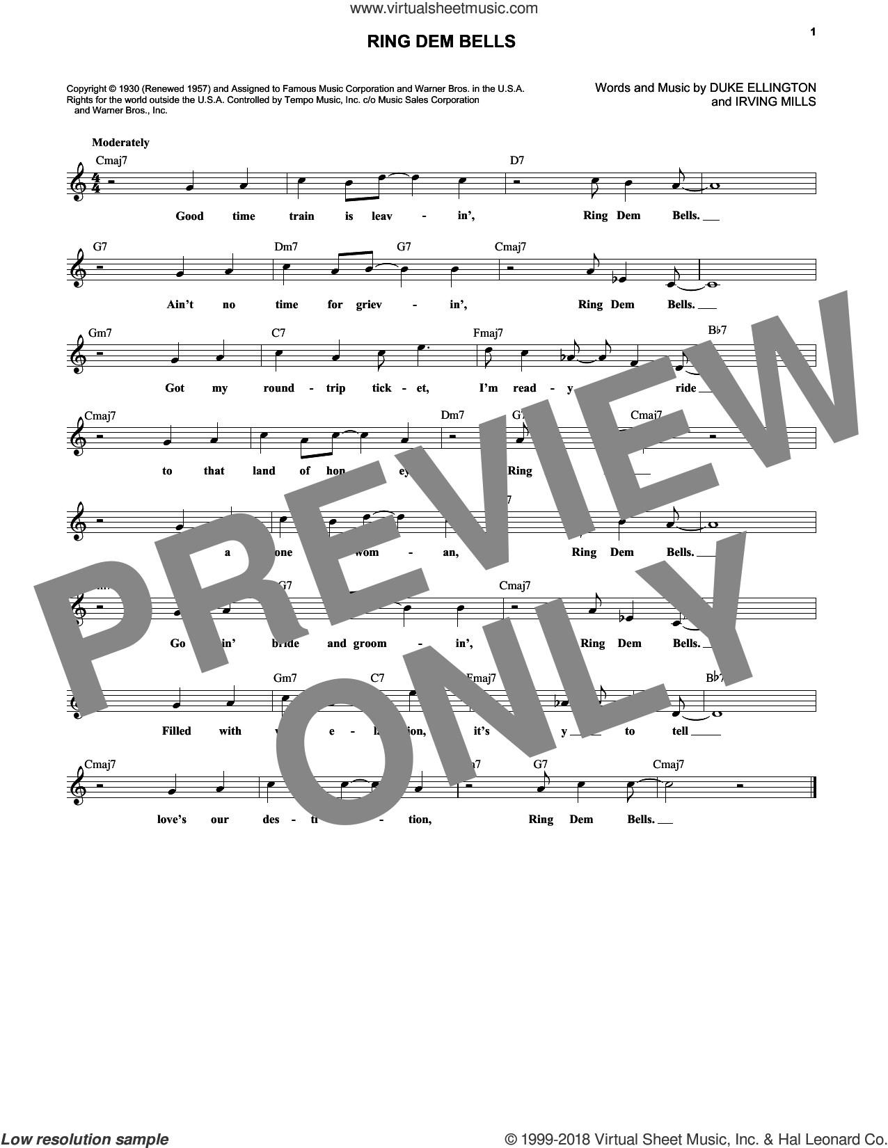 Ring Dem Bells sheet music for voice and other instruments (fake book) by Duke Ellington. Score Image Preview.