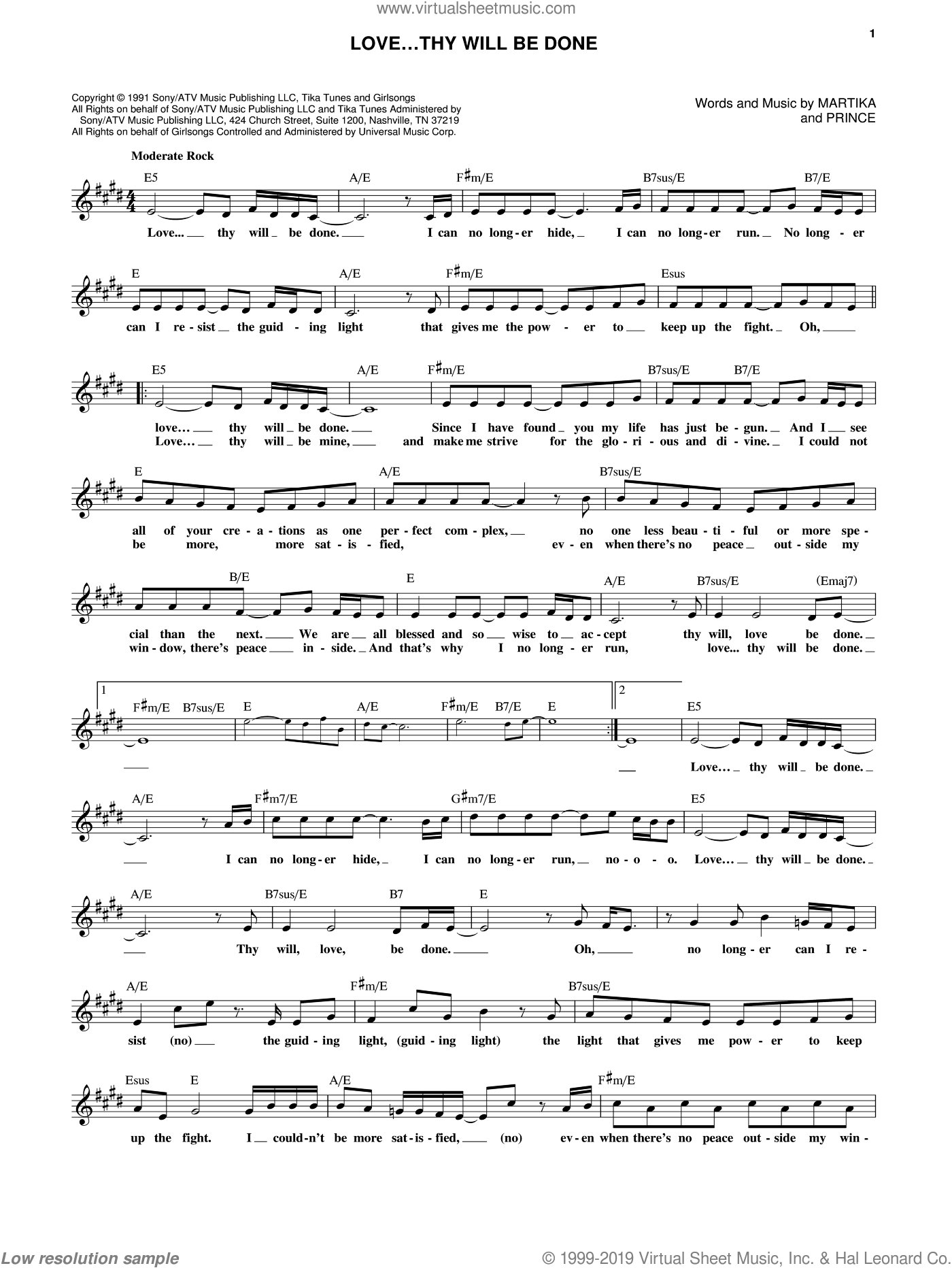 Love...Thy Will Be Done sheet music for voice and other instruments (fake book) by Prince and Martika. Score Image Preview.