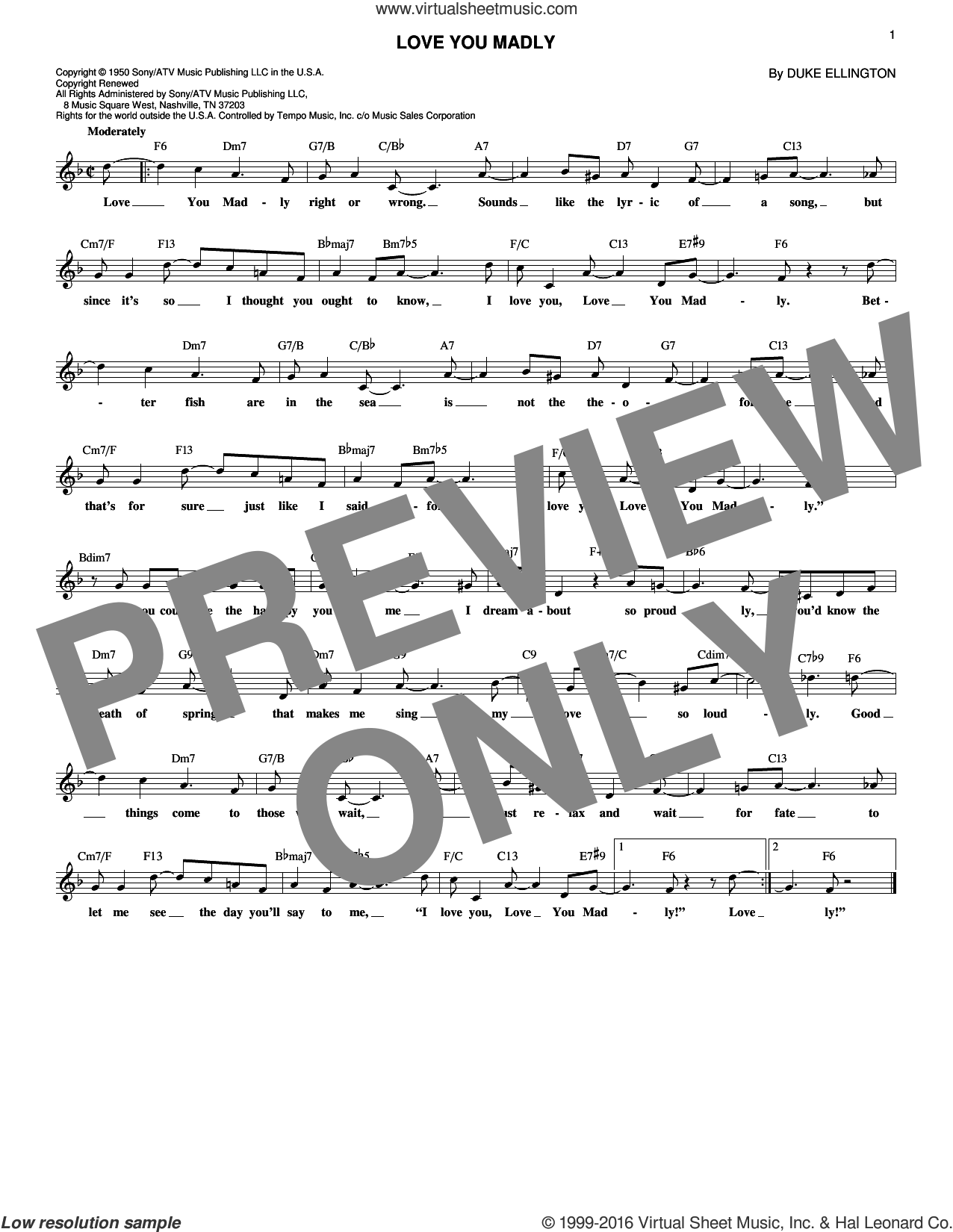 Love You Madly sheet music for voice and other instruments (fake book) by Duke Ellington, intermediate skill level