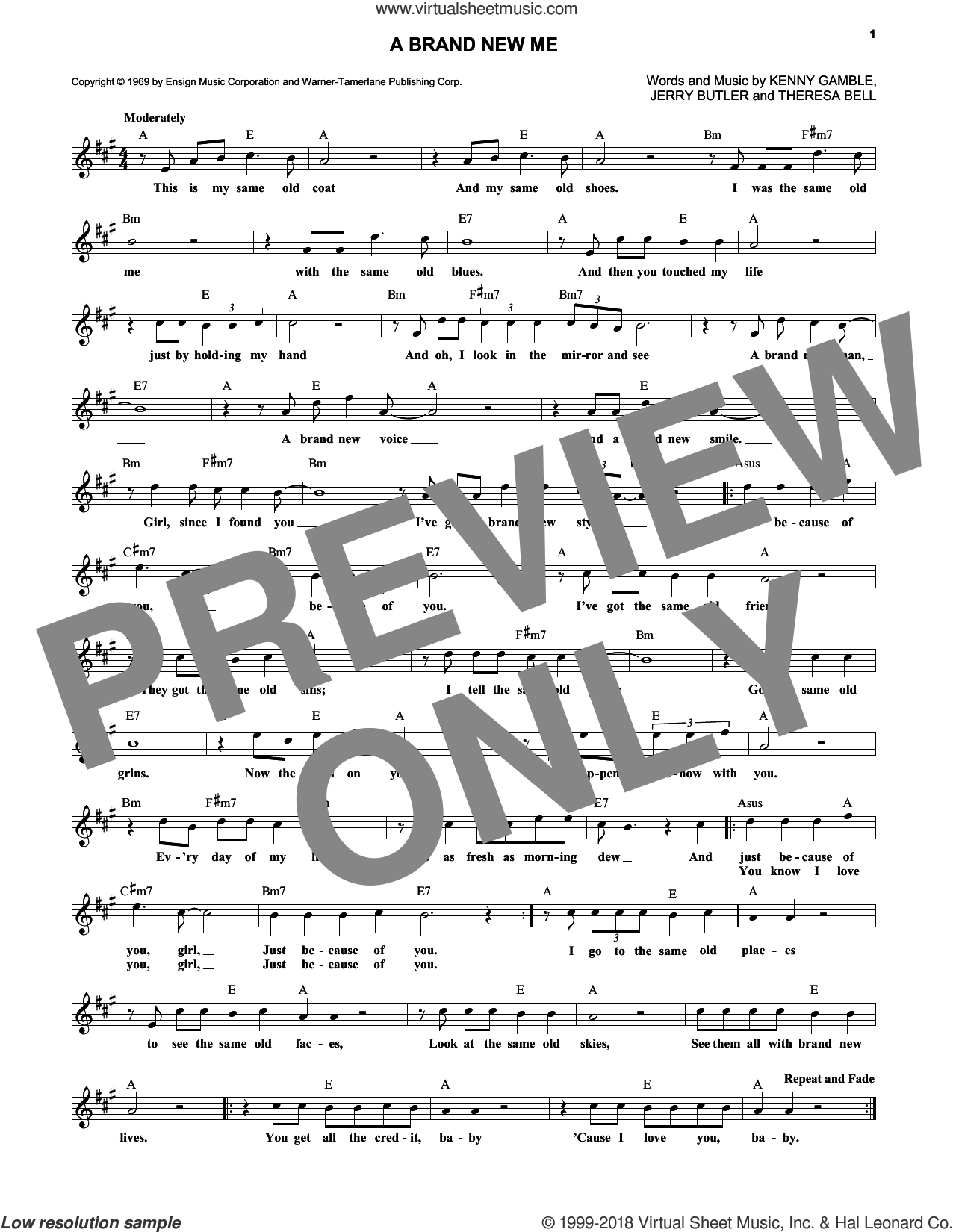 A Brand New Me sheet music for voice and other instruments (fake book) by Kenneth Gamble and Jerry Butler. Score Image Preview.
