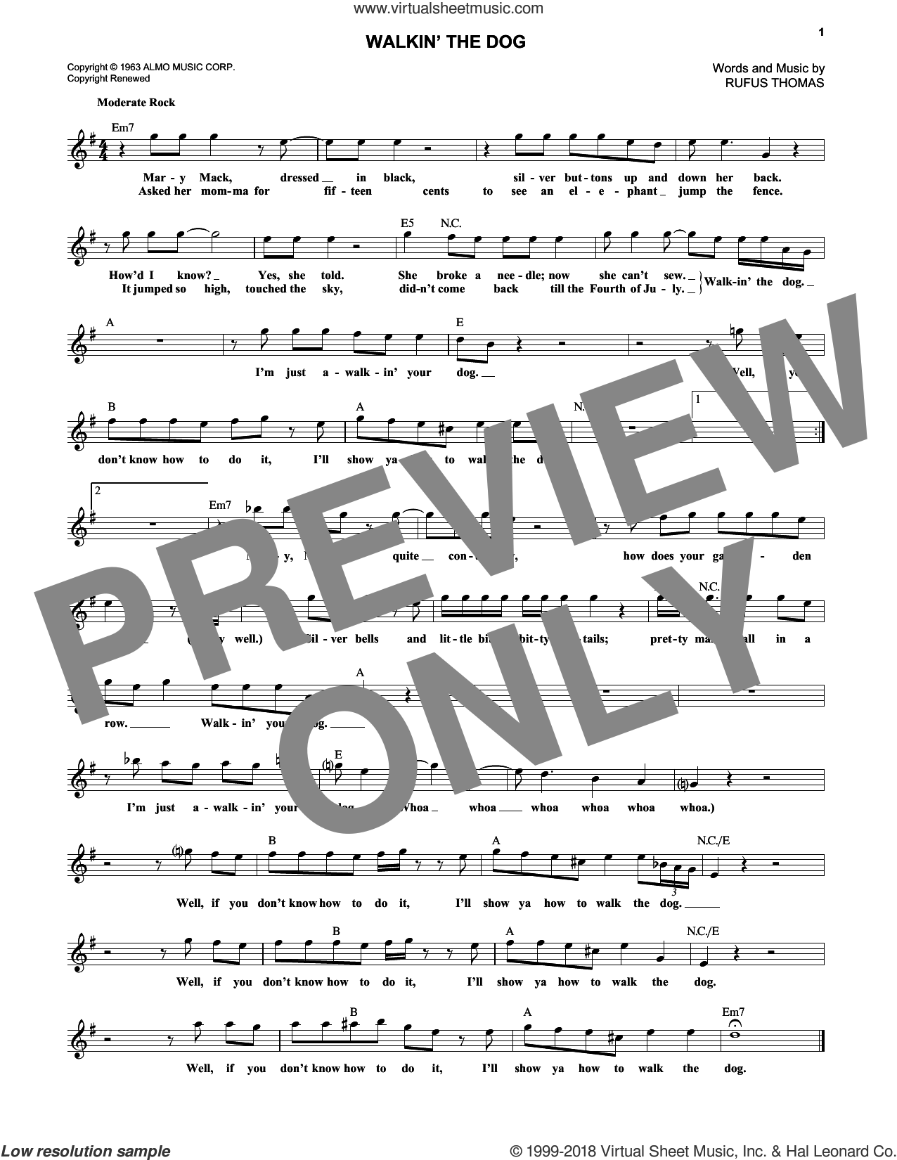 Walkin' The Dog sheet music for voice and other instruments (fake book) by Rufus Thomas, intermediate skill level
