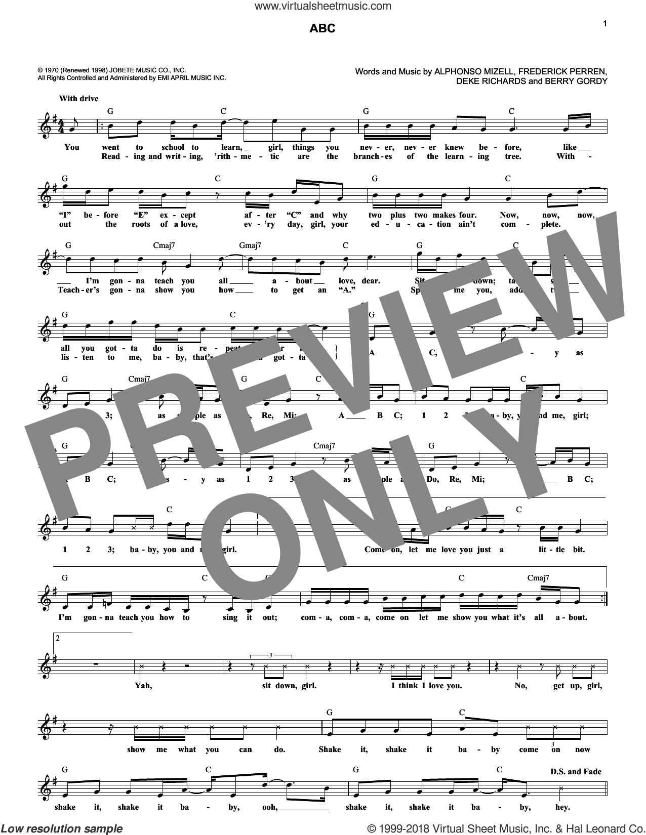ABC sheet music for voice and other instruments (fake book) by The Jackson 5, Alphonso Mizell, Berry Gordy, Deke Richards and Frederick Perren, intermediate skill level