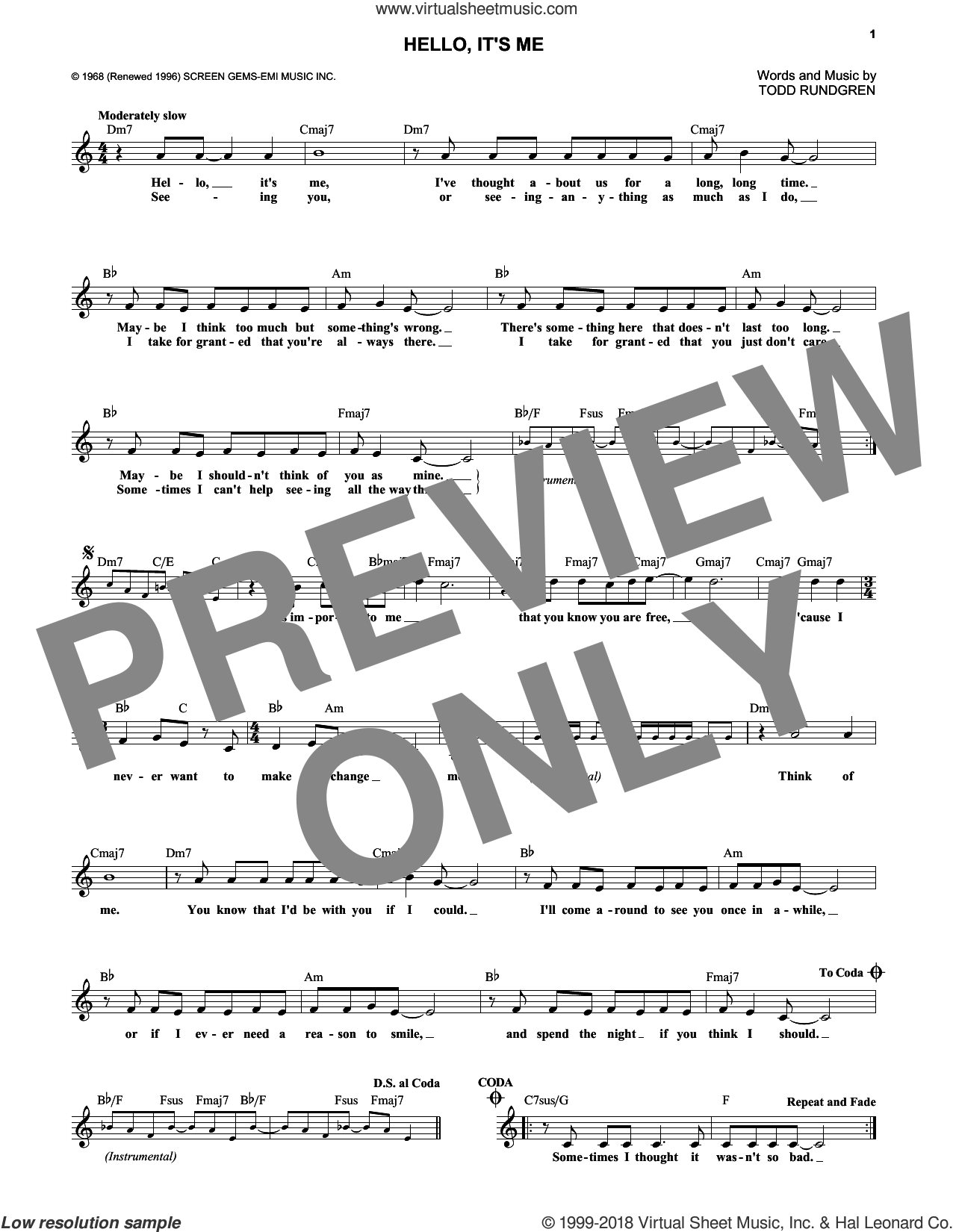 Hello, It's Me sheet music for voice and other instruments (fake book) by Todd Rundgren. Score Image Preview.