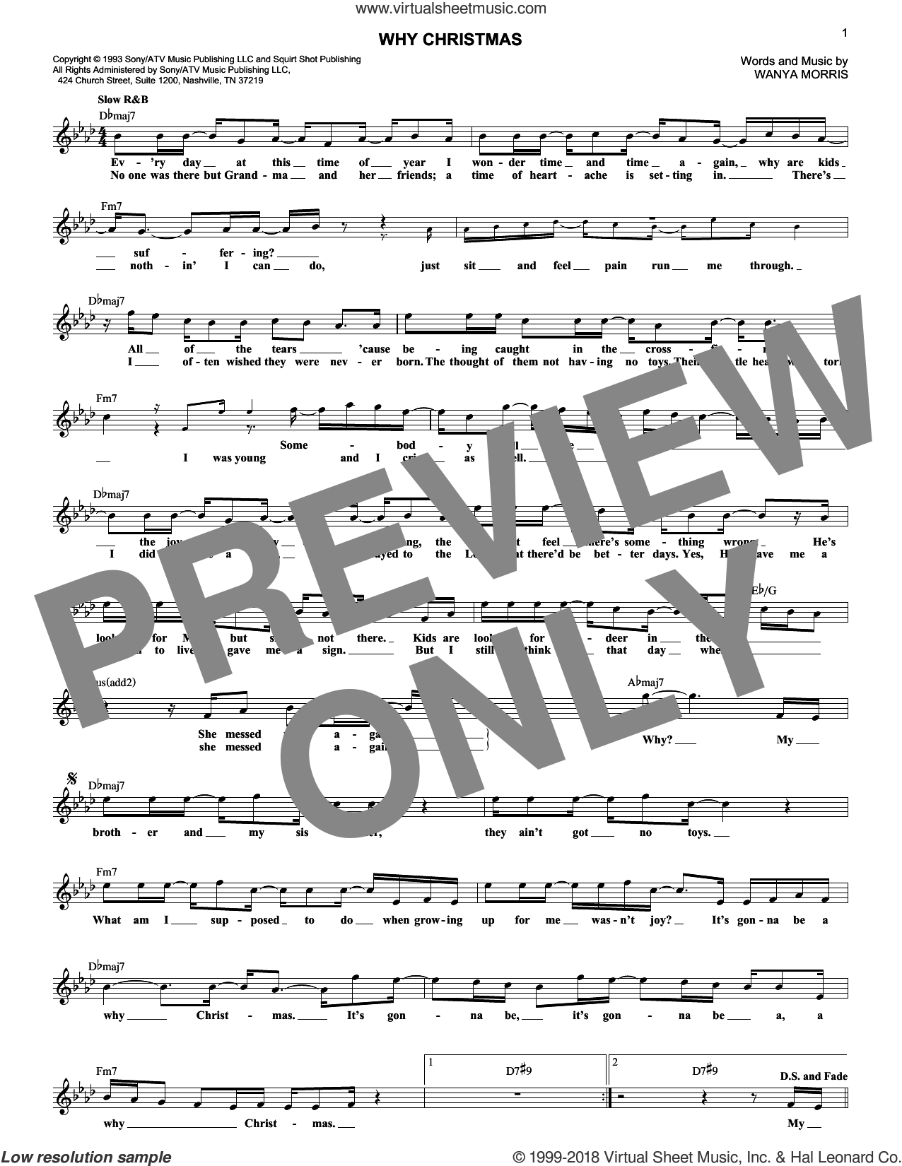 Why Christmas sheet music for voice and other instruments (fake book) by Boyz II Men, intermediate. Score Image Preview.