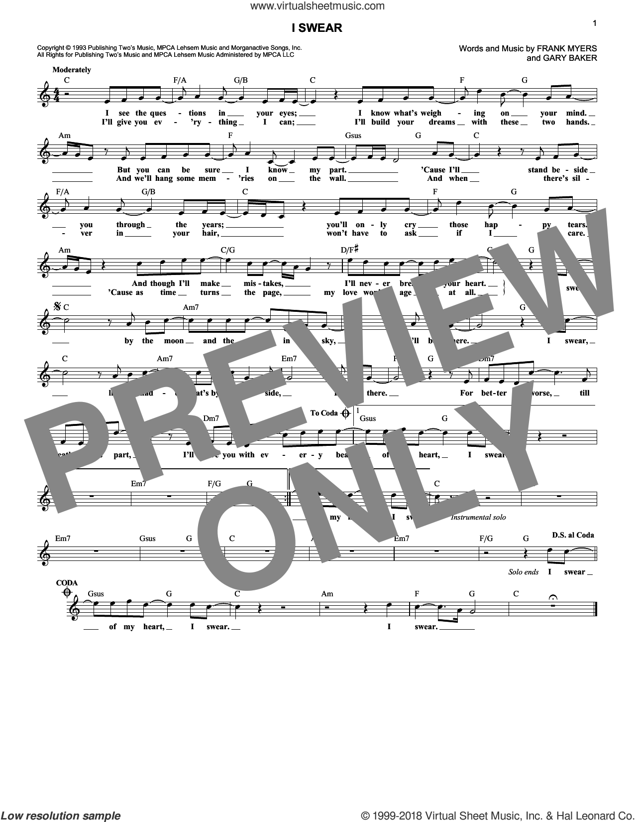 I Swear sheet music for voice and other instruments (fake book) by All-4-One, John Michael Montgomery, Frank Myers and Gary Baker, wedding score, intermediate skill level