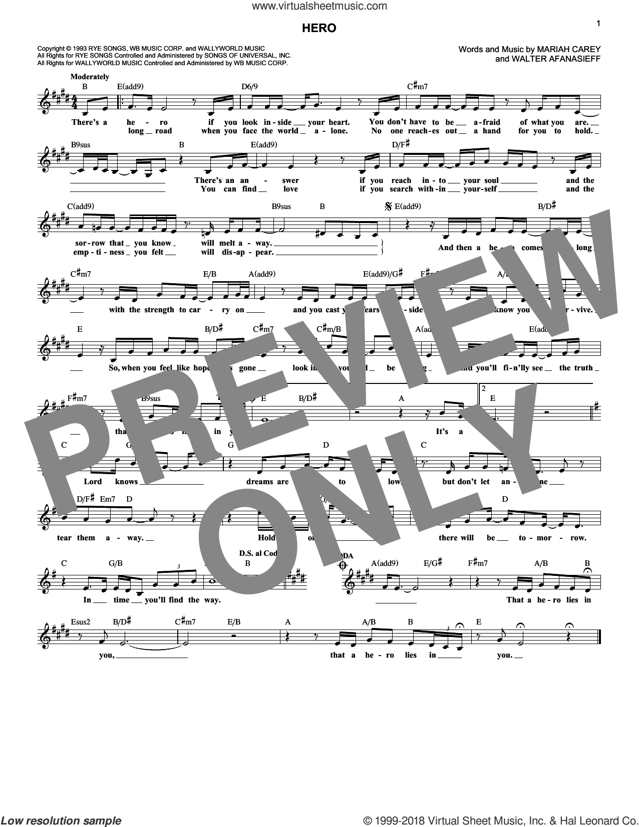 Hero sheet music for voice and other instruments (fake book) by Mariah Carey and Walter Afanasieff, intermediate skill level