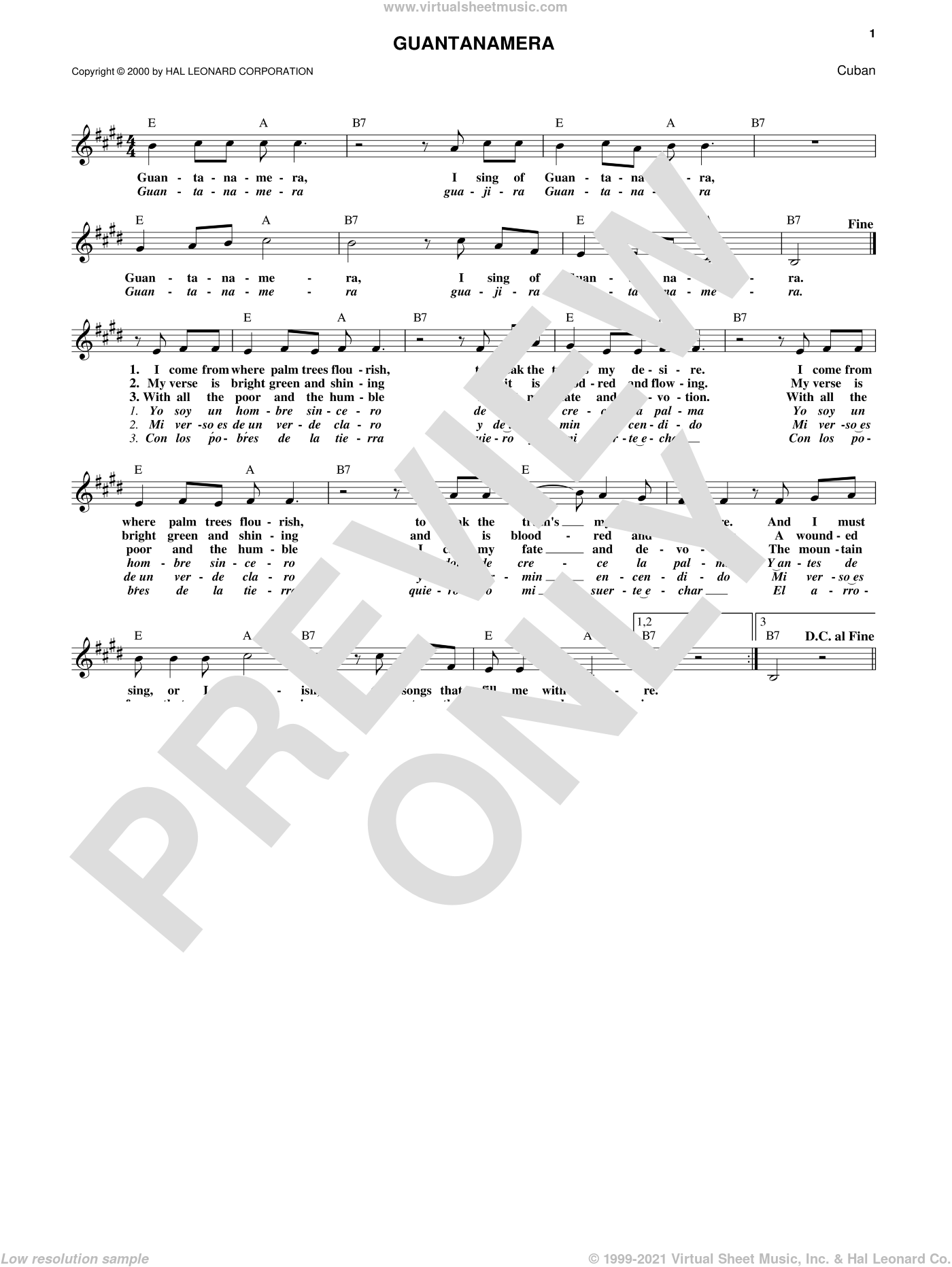 Guantanamera sheet music for voice and other instruments (fake book), intermediate. Score Image Preview.