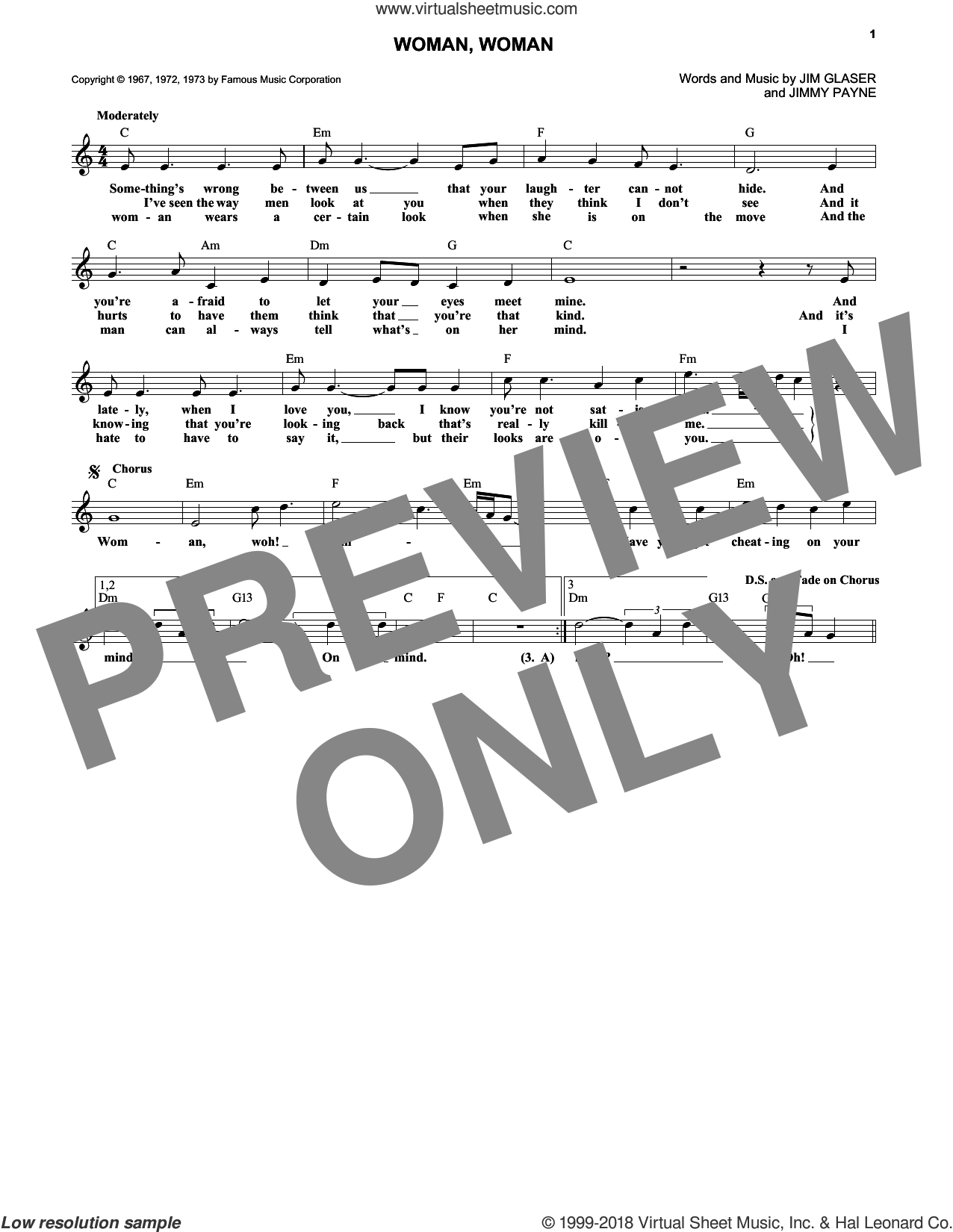 Woman, Woman sheet music for voice and other instruments (fake book) by Gary Puckett & The Union Gap, intermediate voice. Score Image Preview.