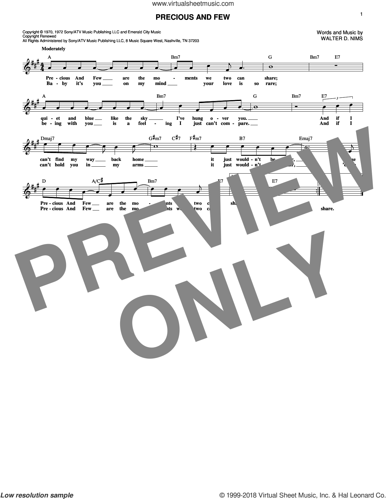 Precious And Few sheet music for voice and other instruments (fake book) by Walter D. Nims. Score Image Preview.