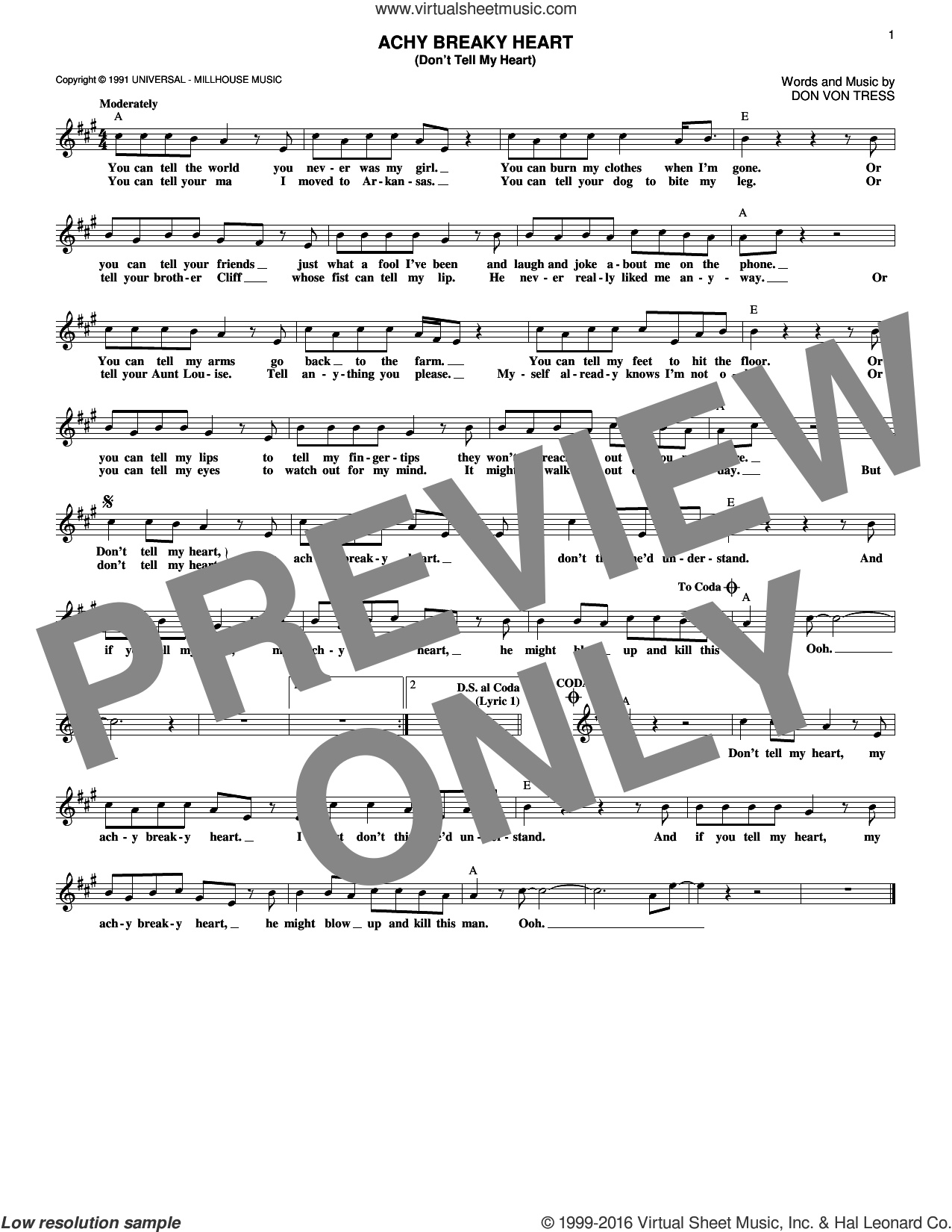 Achy Breaky Heart (Don't Tell My Heart) sheet music for voice and other instruments (fake book) by Billy Ray Cyrus, intermediate voice. Score Image Preview.