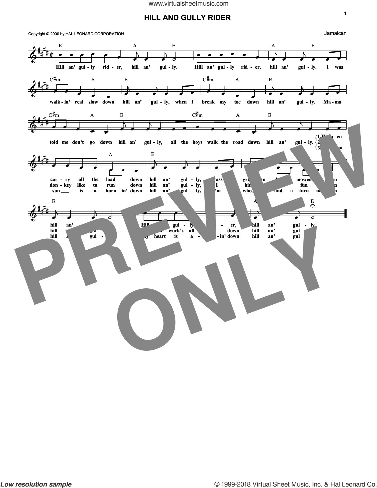 Hill And Gully Rider sheet music for voice and other instruments (fake book) by Caribbean. Score Image Preview.