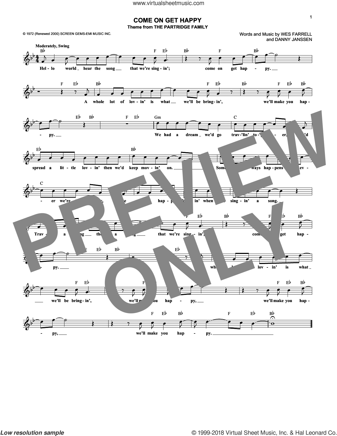 Come On Get Happy sheet music for voice and other instruments (fake book) by The Partridge Family, Danny Janssen and Wes Farrell, intermediate skill level