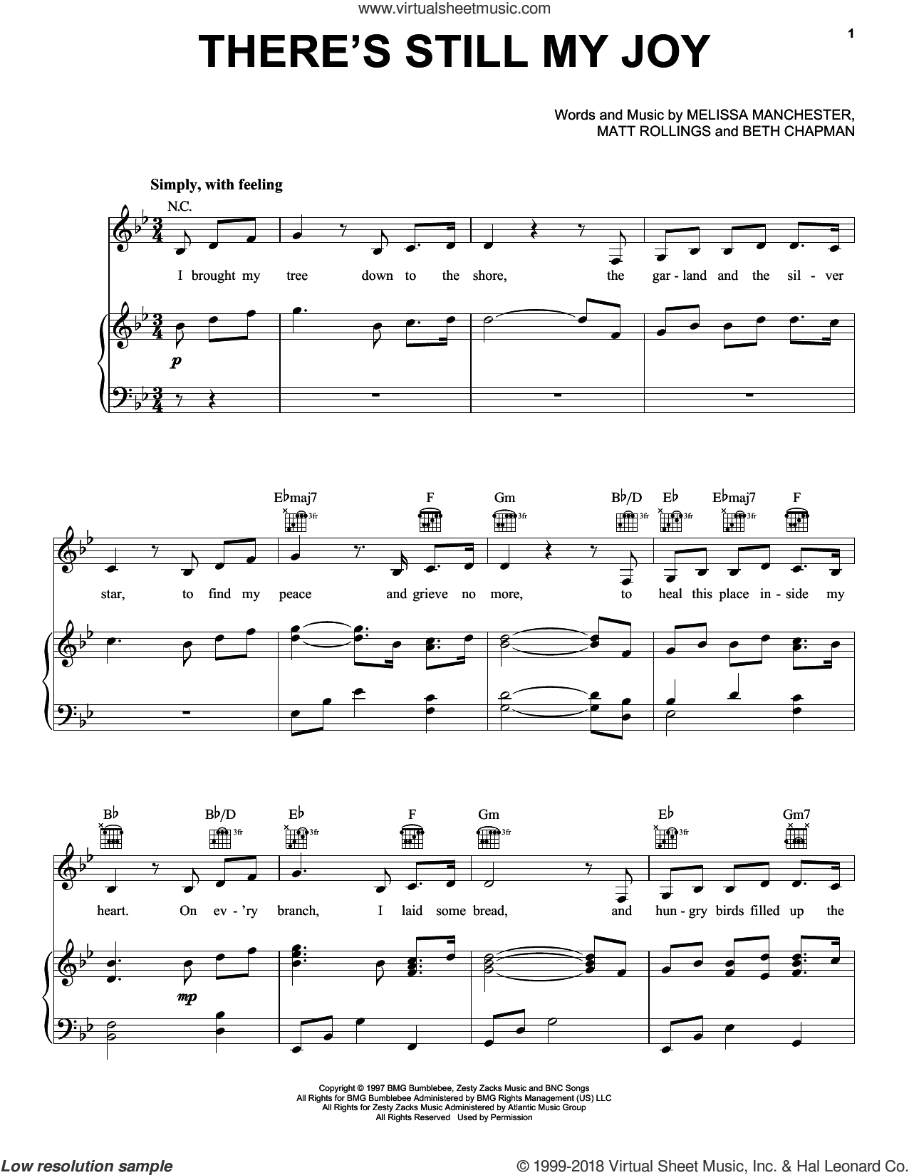 There's Still My Joy sheet music for voice, piano or guitar by Indigo Girls, Beth Chapman, Matt Rollings and Melissa Manchester, intermediate skill level