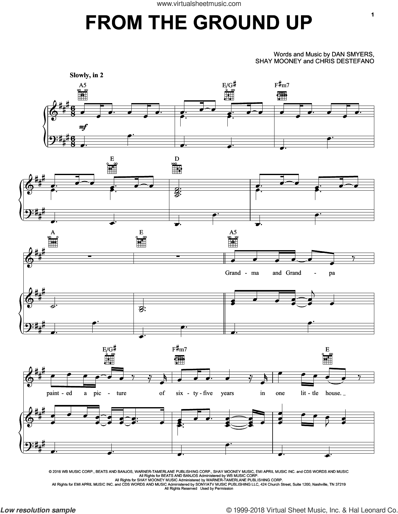 From The Ground Up sheet music for voice, piano or guitar by Dan & Shay, Chris Destefano, Dan Smyers and Shay Mooney, intermediate voice, piano or guitar. Score Image Preview.