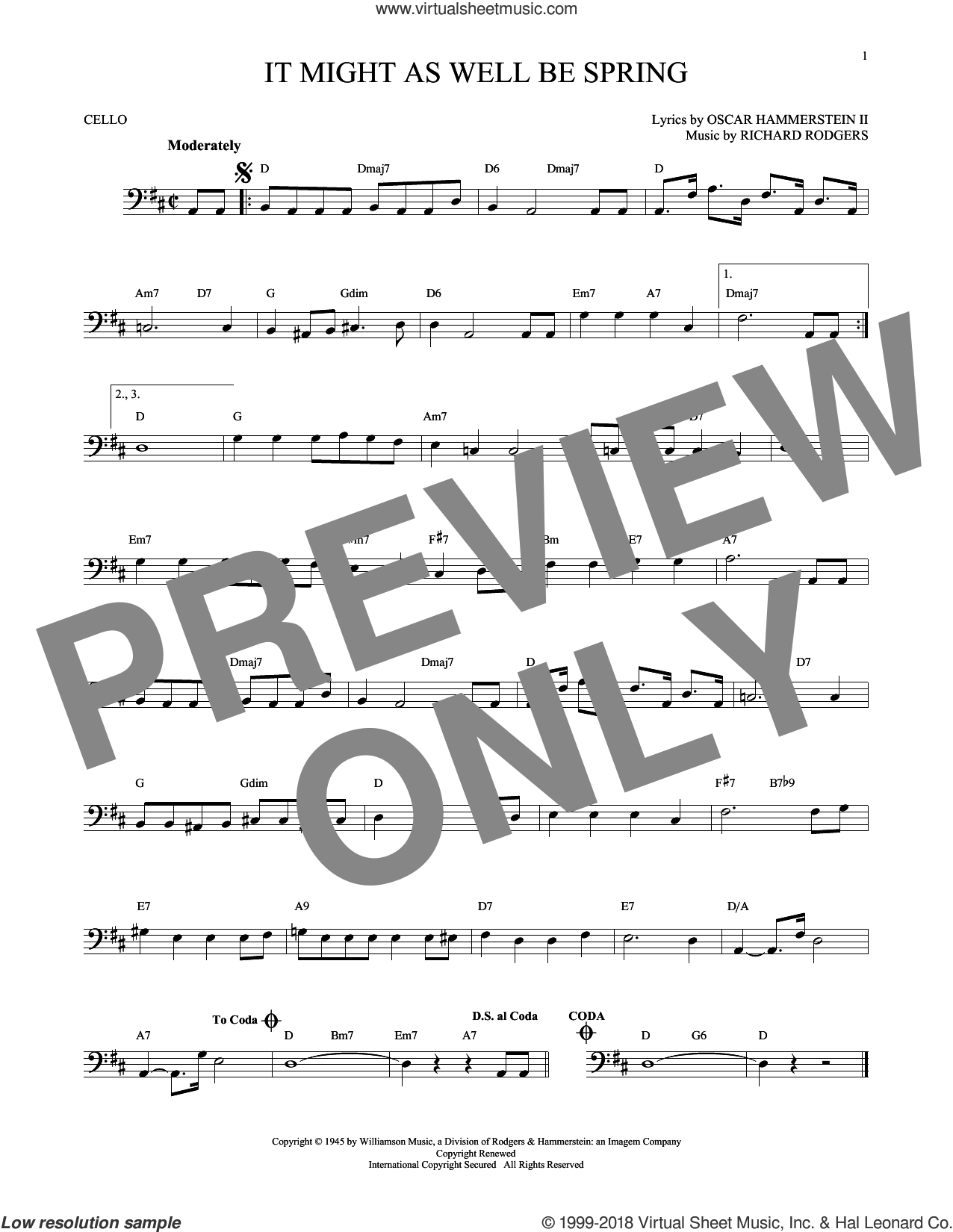 It Might As Well Be Spring sheet music for cello solo by Rodgers & Hammerstein, Oscar II Hammerstein and Richard Rodgers, intermediate skill level