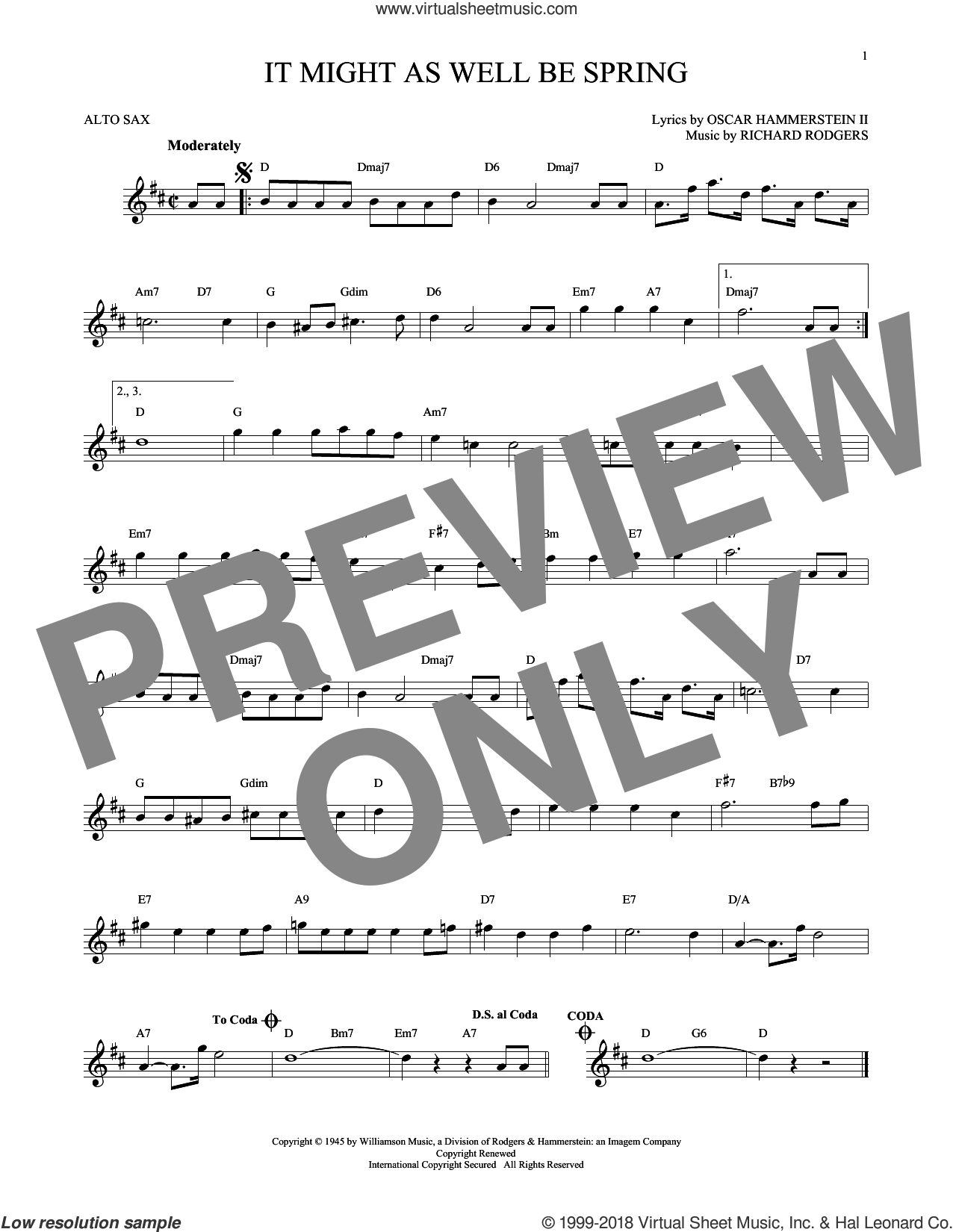 It Might As Well Be Spring sheet music for alto saxophone solo by Rodgers & Hammerstein, Oscar II Hammerstein and Richard Rodgers, intermediate. Score Image Preview.