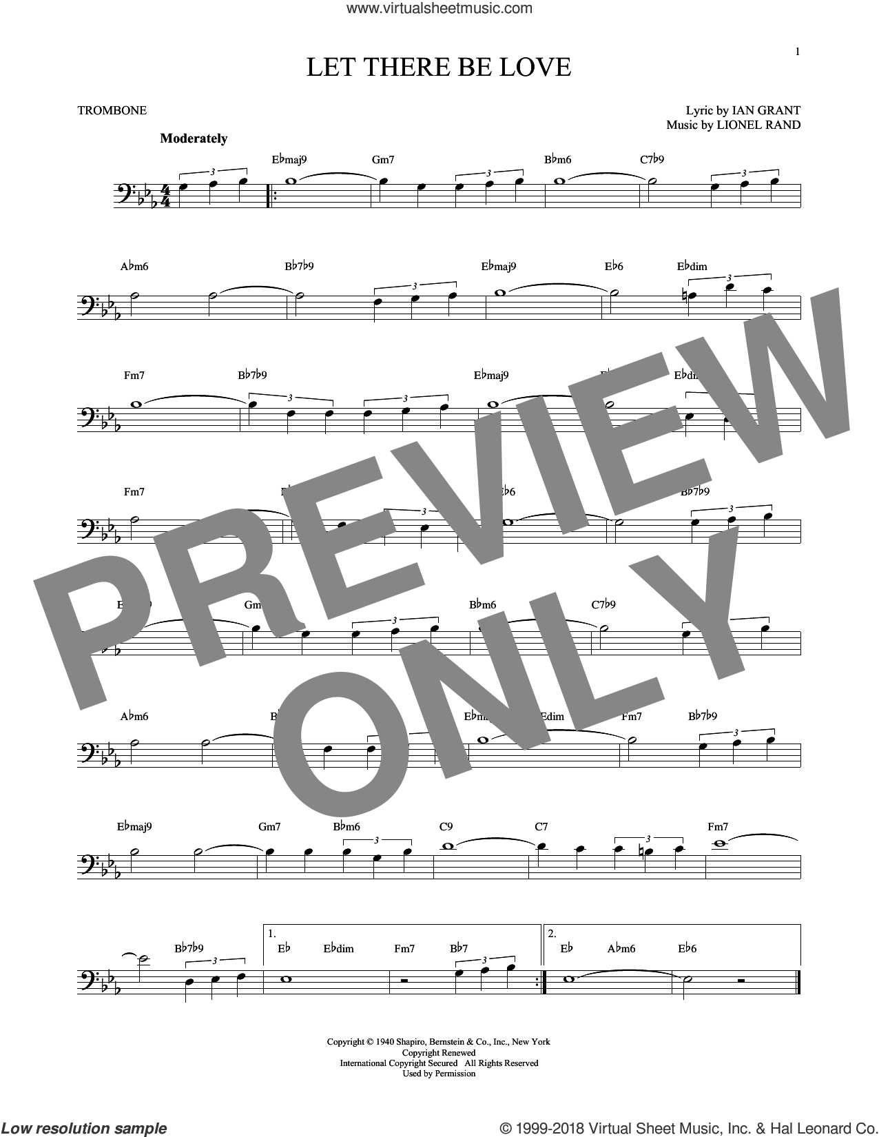 Let There Be Love sheet music for trombone solo by Ian Grant and Lionel Rand. Score Image Preview.
