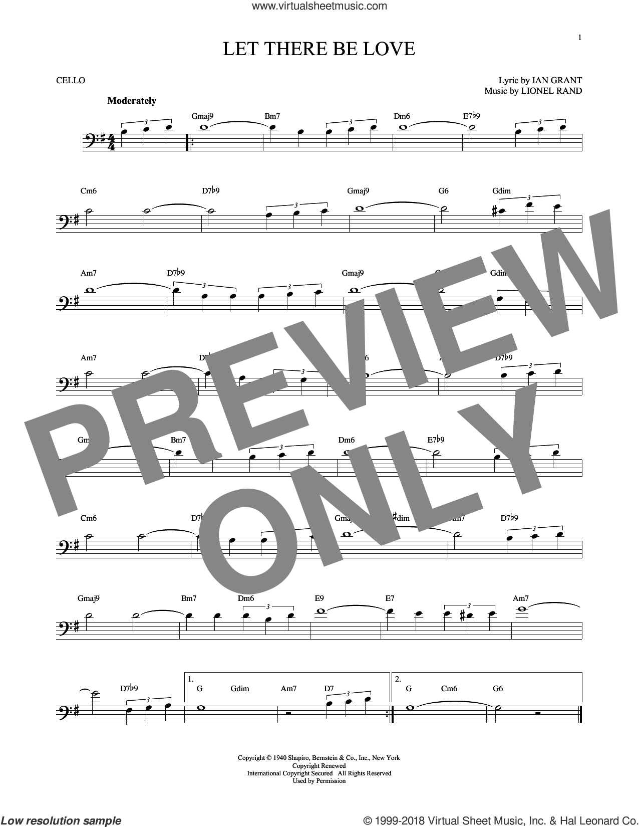 Let There Be Love sheet music for cello solo by Ian Grant and Lionel Rand. Score Image Preview.
