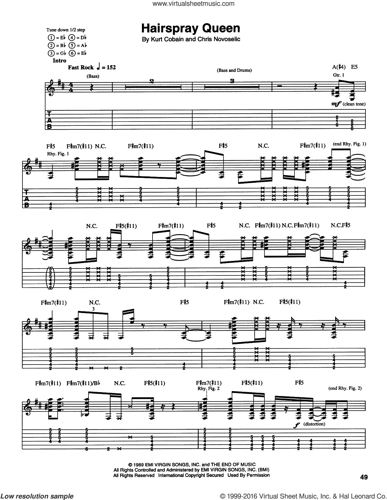 Hairspray Queen sheet music for guitar (tablature) by Nirvana, Krist Novoselic and Kurt Cobain, intermediate skill level