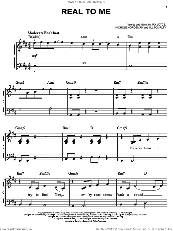 Real To Me sheet music for piano solo by Jill Tomalty, Jay Joyce and Nichole Nordeman. Score Image Preview.