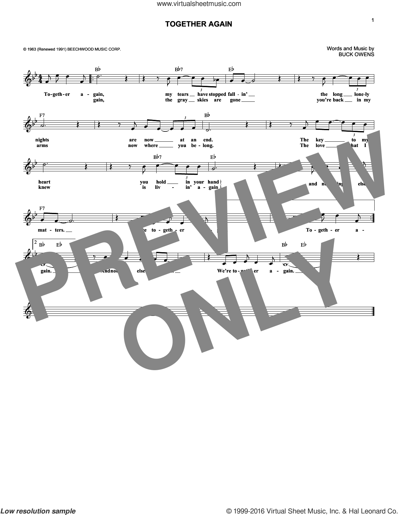 Together Again sheet music for voice and other instruments (fake book) by Buck Owens and Emmylou Harris. Score Image Preview.