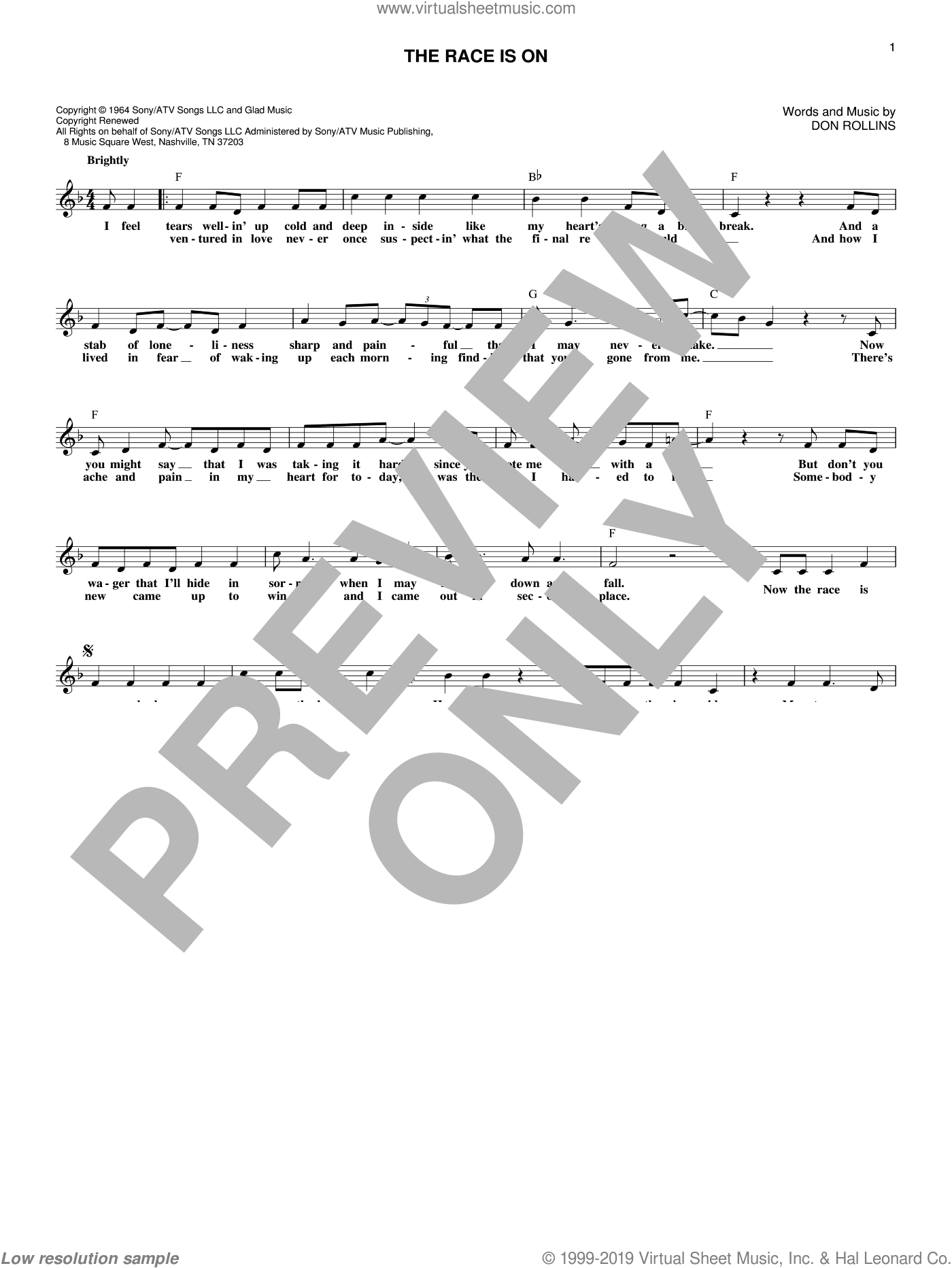 The Race Is On sheet music for voice and other instruments (fake book) by George Jones, Sawyer Brown and Don Rollins, intermediate skill level