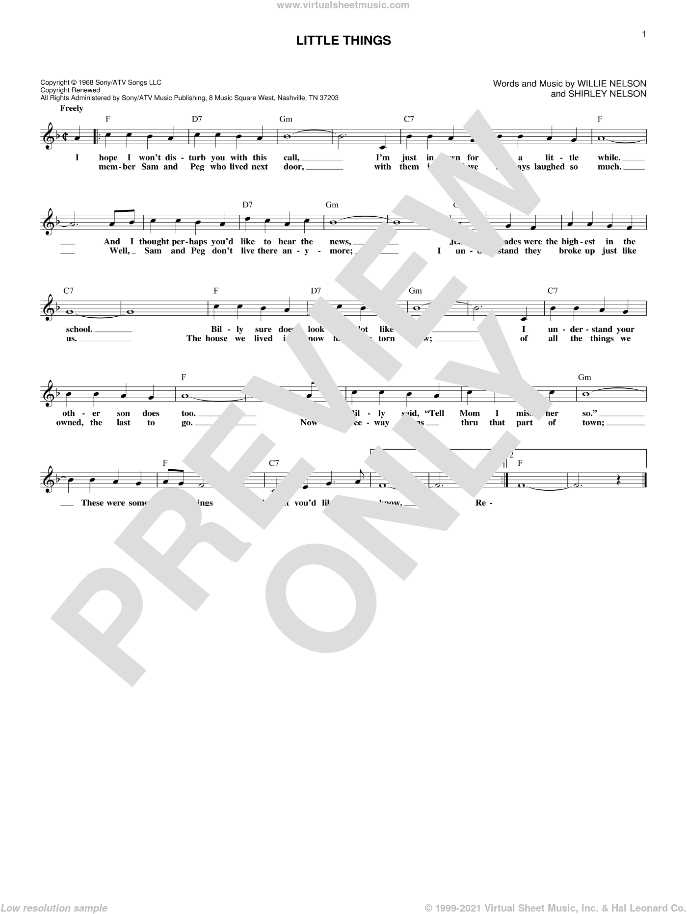 Little Things sheet music for voice and other instruments (fake book) by Oak Ridge Boys and Willie Nelson, intermediate voice. Score Image Preview.
