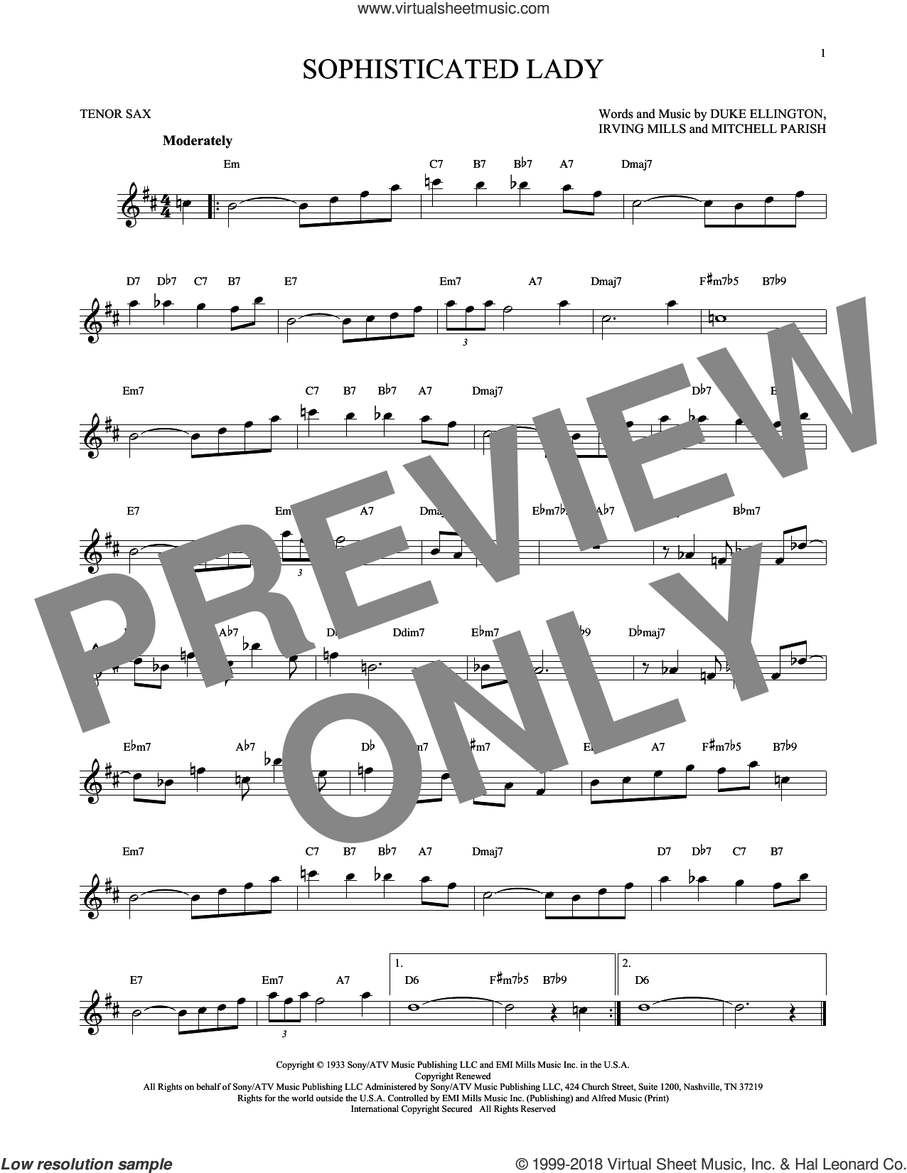Sophisticated Lady sheet music for tenor saxophone solo by Duke Ellington, Irving Mills and Mitchell Parish, intermediate skill level
