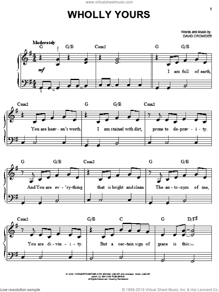 Wholly Yours sheet music for piano solo by David Crowder Band and David Crowder, easy skill level