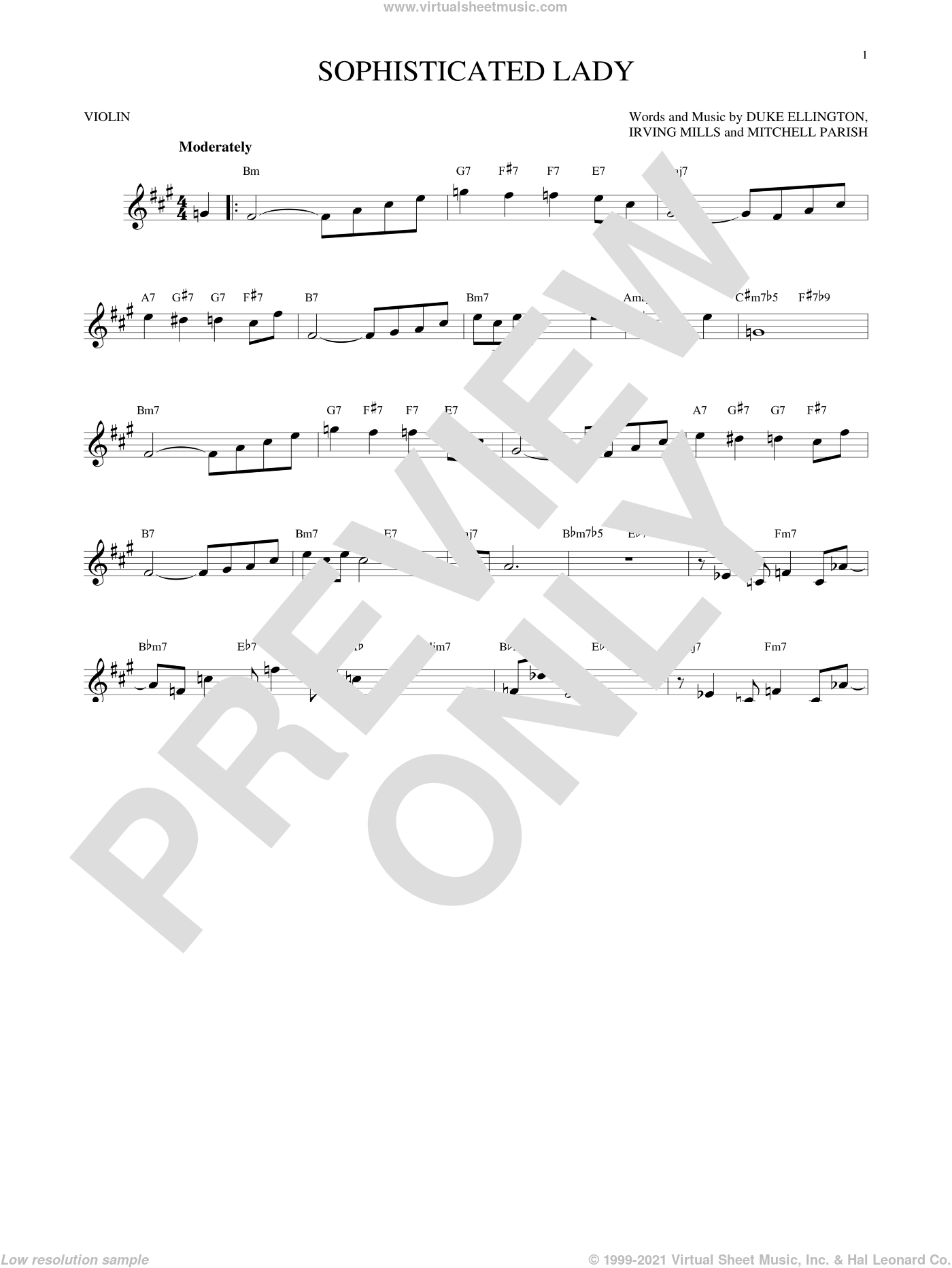 Sophisticated Lady sheet music for violin solo by Duke Ellington, Irving Mills and Mitchell Parish, intermediate skill level