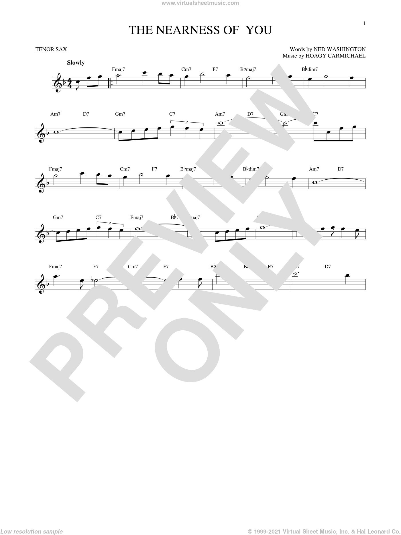 The Nearness Of You sheet music for tenor saxophone solo by Ned Washington, George Shearing and Hoagy Carmichael. Score Image Preview.