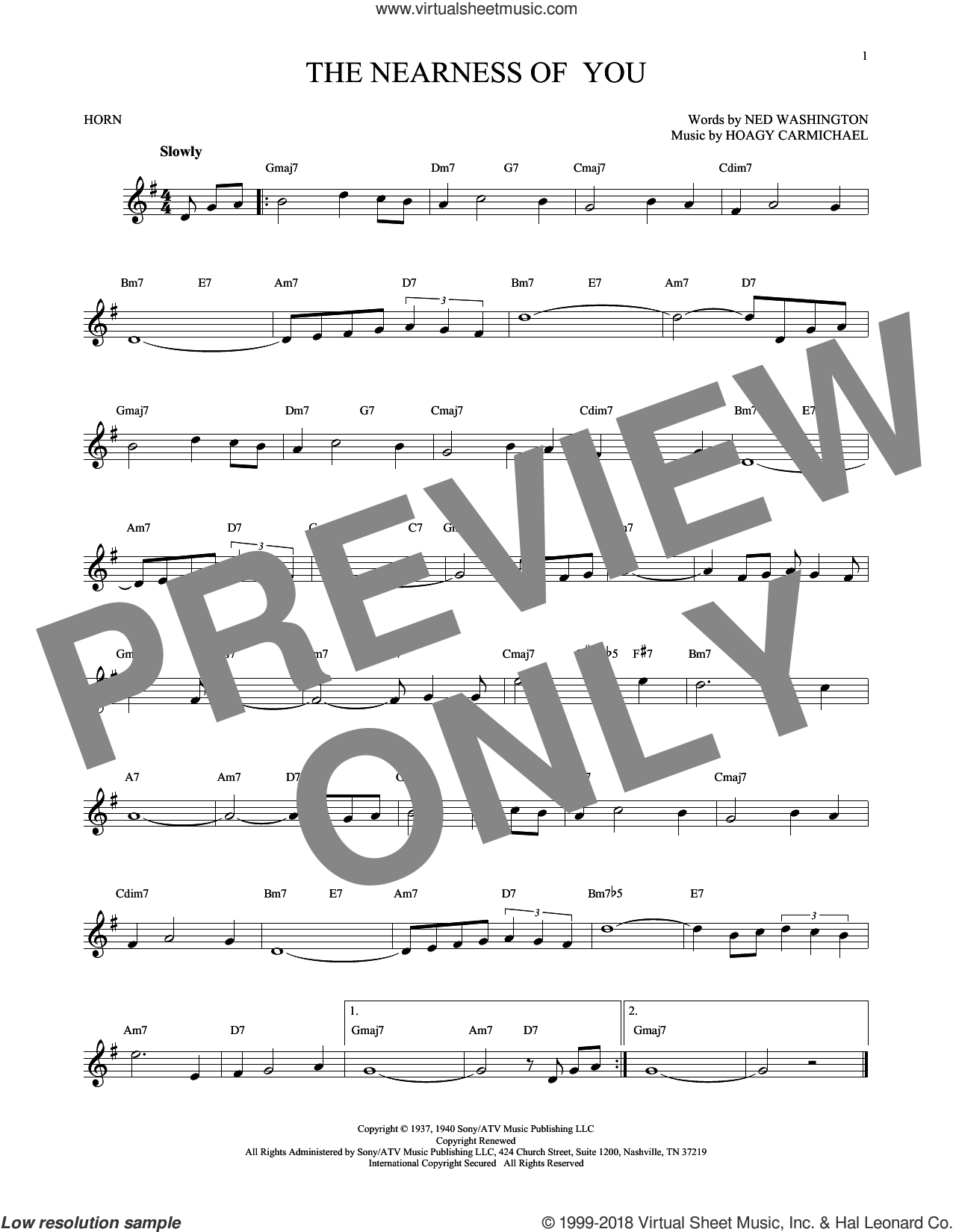 The Nearness Of You sheet music for horn solo by Hoagy Carmichael, George Shearing and Ned Washington, intermediate skill level