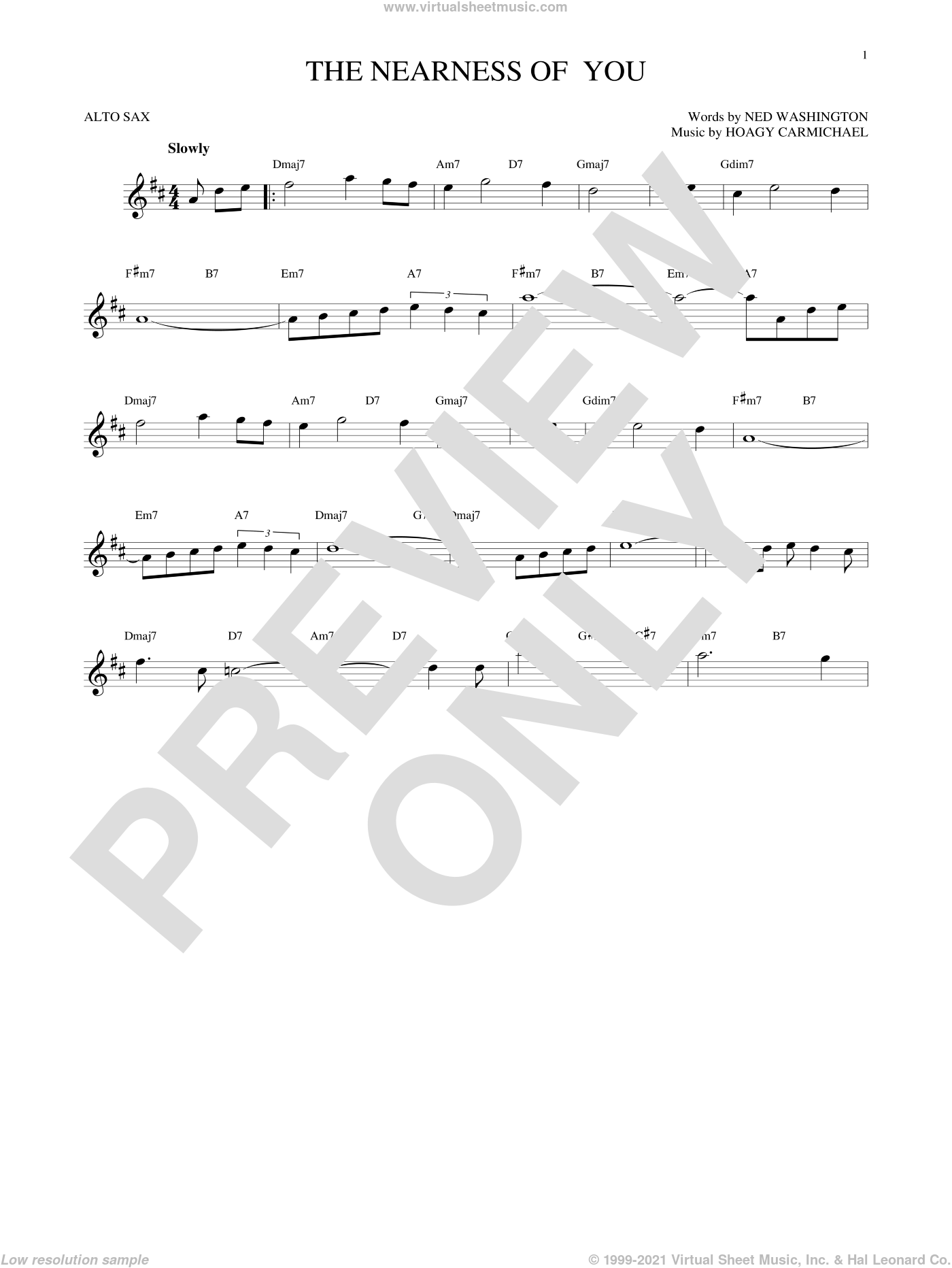 The Nearness Of You sheet music for alto saxophone solo by Hoagy Carmichael and George Shearing, intermediate. Score Image Preview.