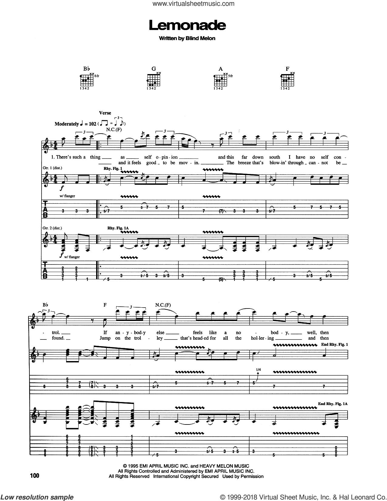 Lemonade sheet music for guitar (tablature) by Blind Melon, intermediate skill level