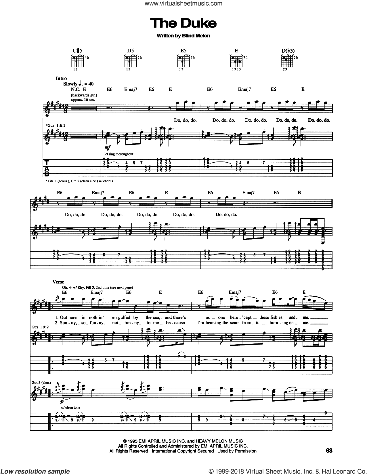 The Duke sheet music for guitar (tablature) by Blind Melon, intermediate guitar (tablature). Score Image Preview.