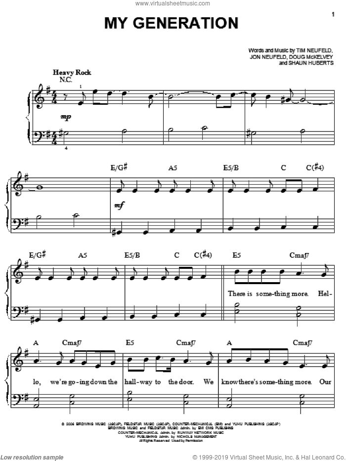 My Generation sheet music for piano solo by Tim Neufeld and Doug McKelvey. Score Image Preview.