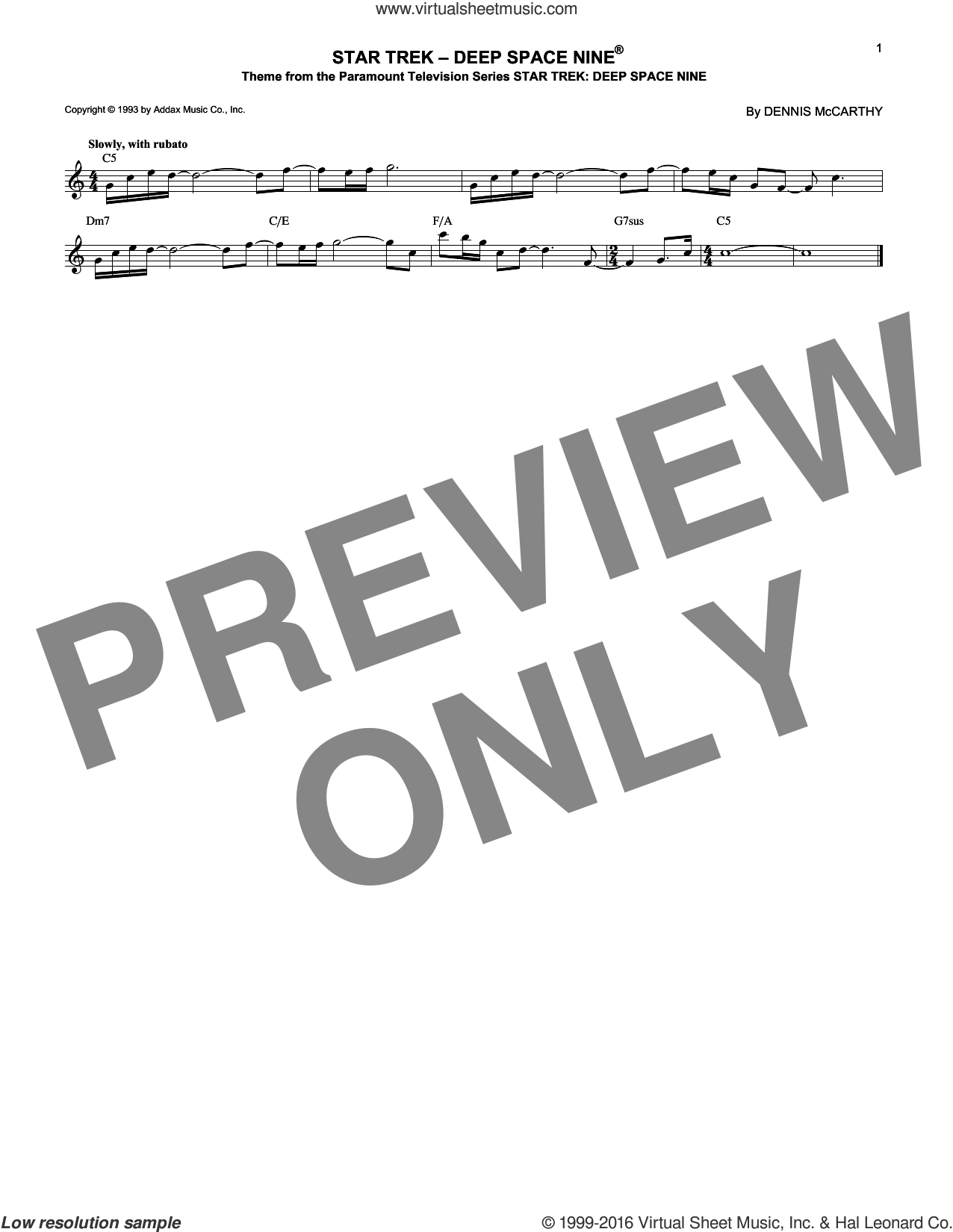 Star Trek - Deep Space Nine sheet music for voice and other instruments (fake book) by Dennis McCarthy, intermediate voice. Score Image Preview.