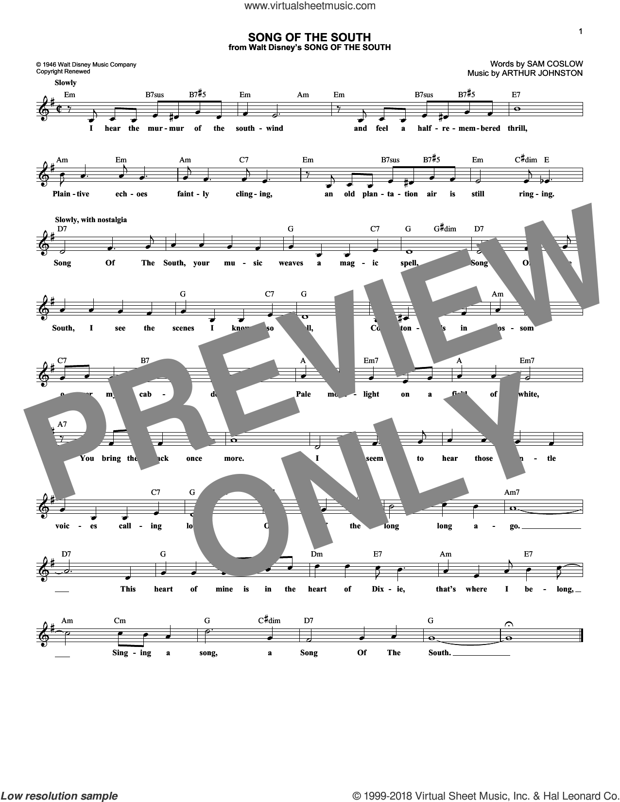 Song Of The South sheet music for voice and other instruments (fake book) by Arthur Johnston and Sam Coslow. Score Image Preview.