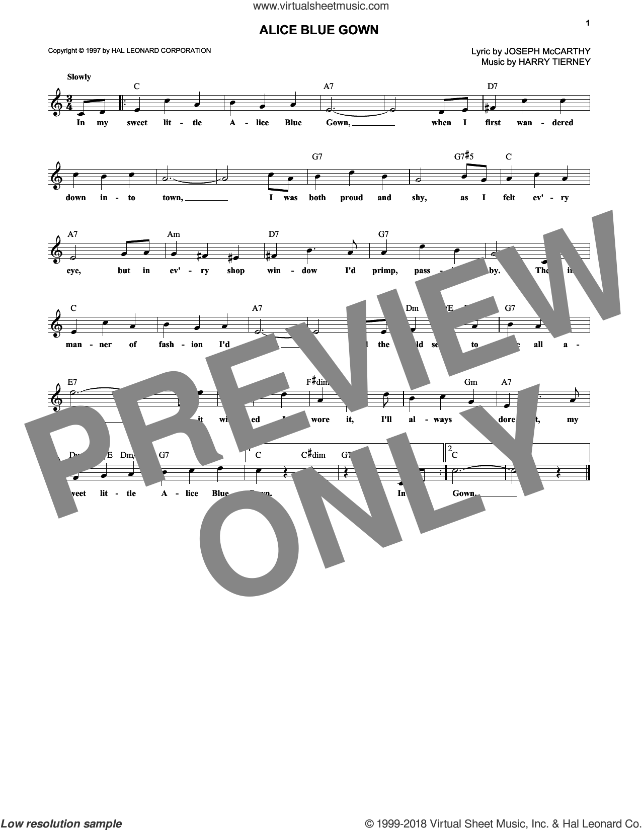 Alice Blue Gown sheet music for voice and other instruments (fake book) by Joseph McCarthy, Debbie Reynolds and Harry Austin Tierney. Score Image Preview.