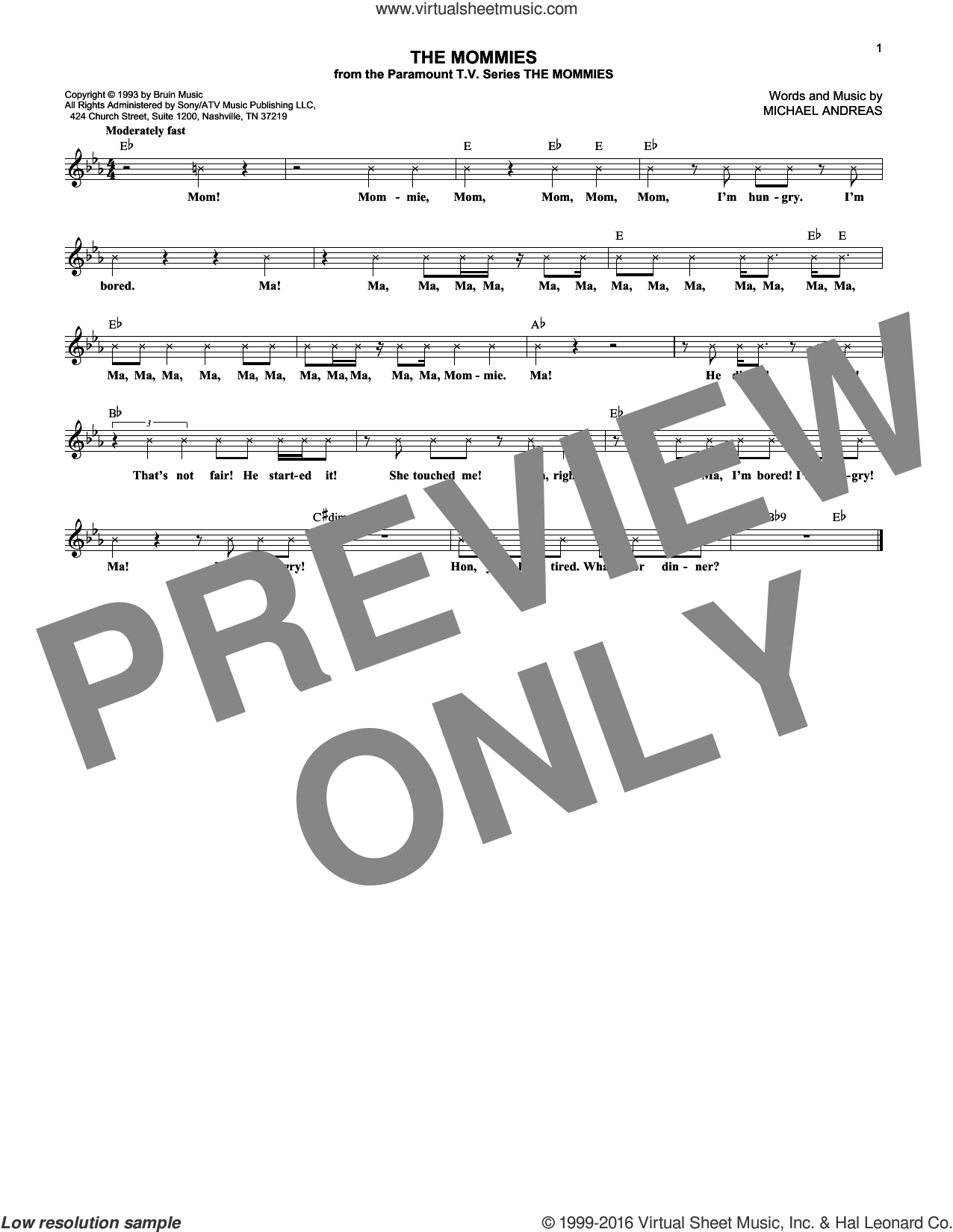 The Mommies sheet music for voice and other instruments (fake book) by Michael Andreas. Score Image Preview.